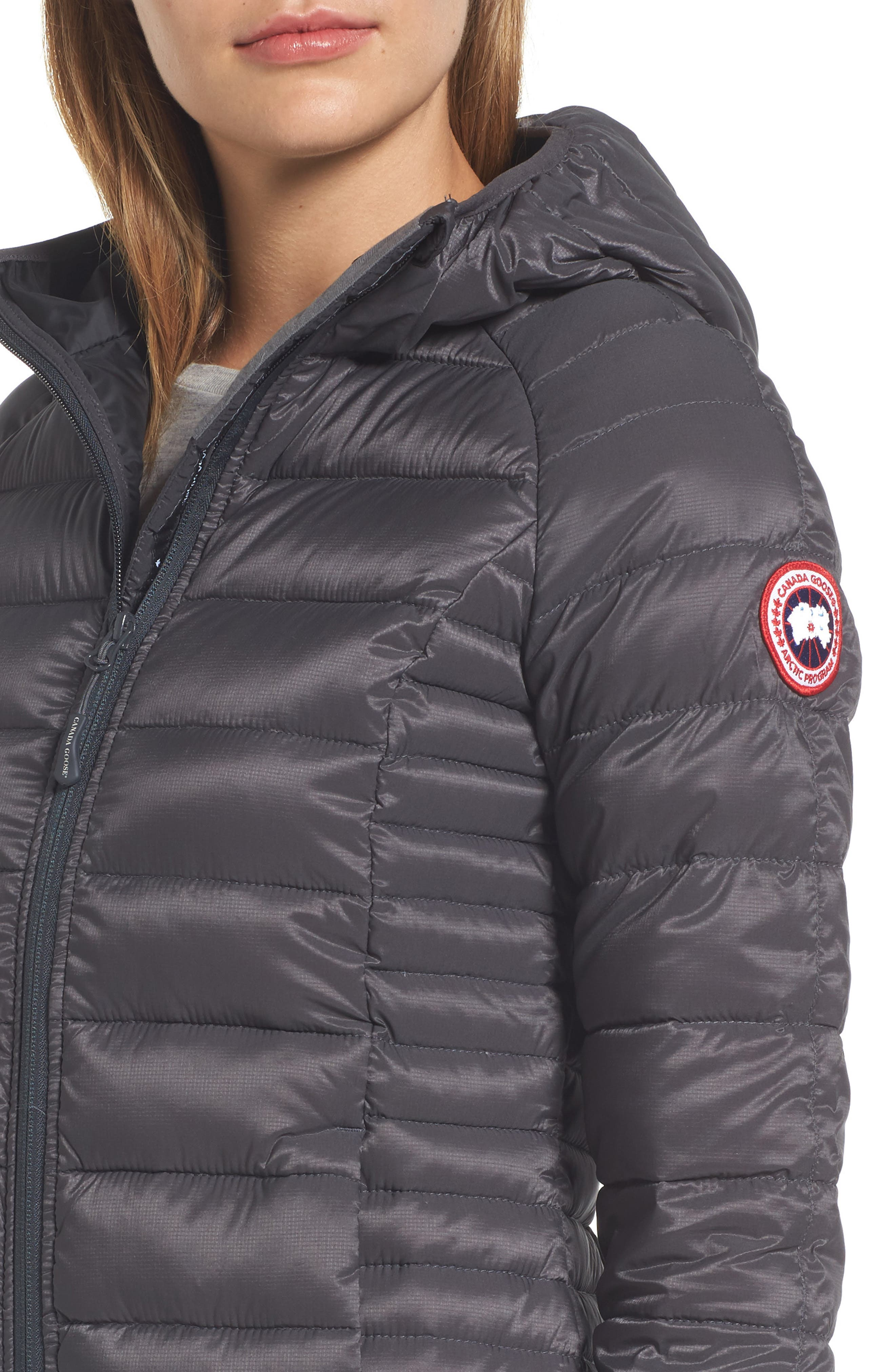 'Brookvale' Packable Hooded Quilted Down Jacket,                             Alternate thumbnail 4, color,                             Graphite/ Black