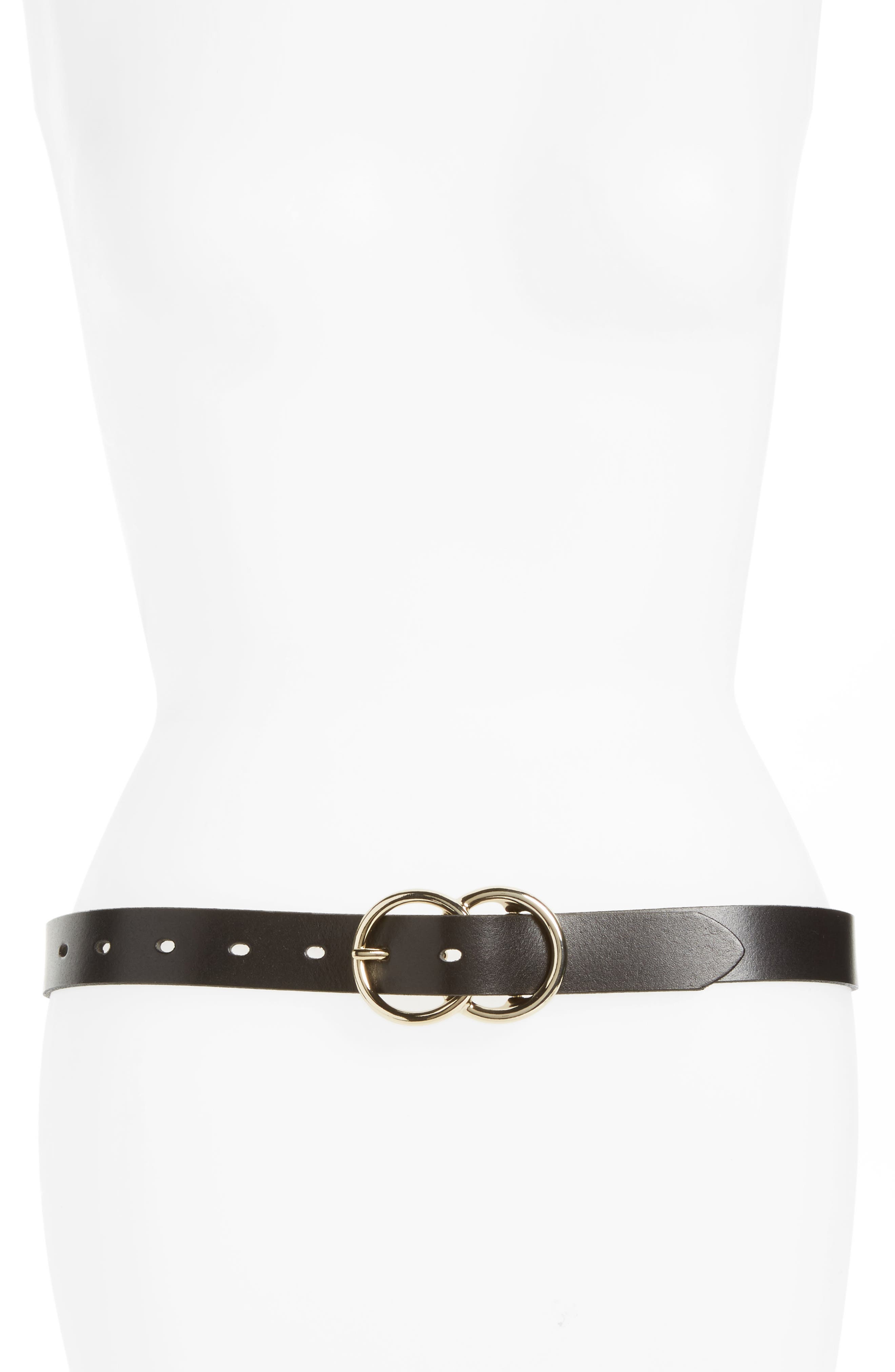 Double Ring Leather Belt,                         Main,                         color, Black