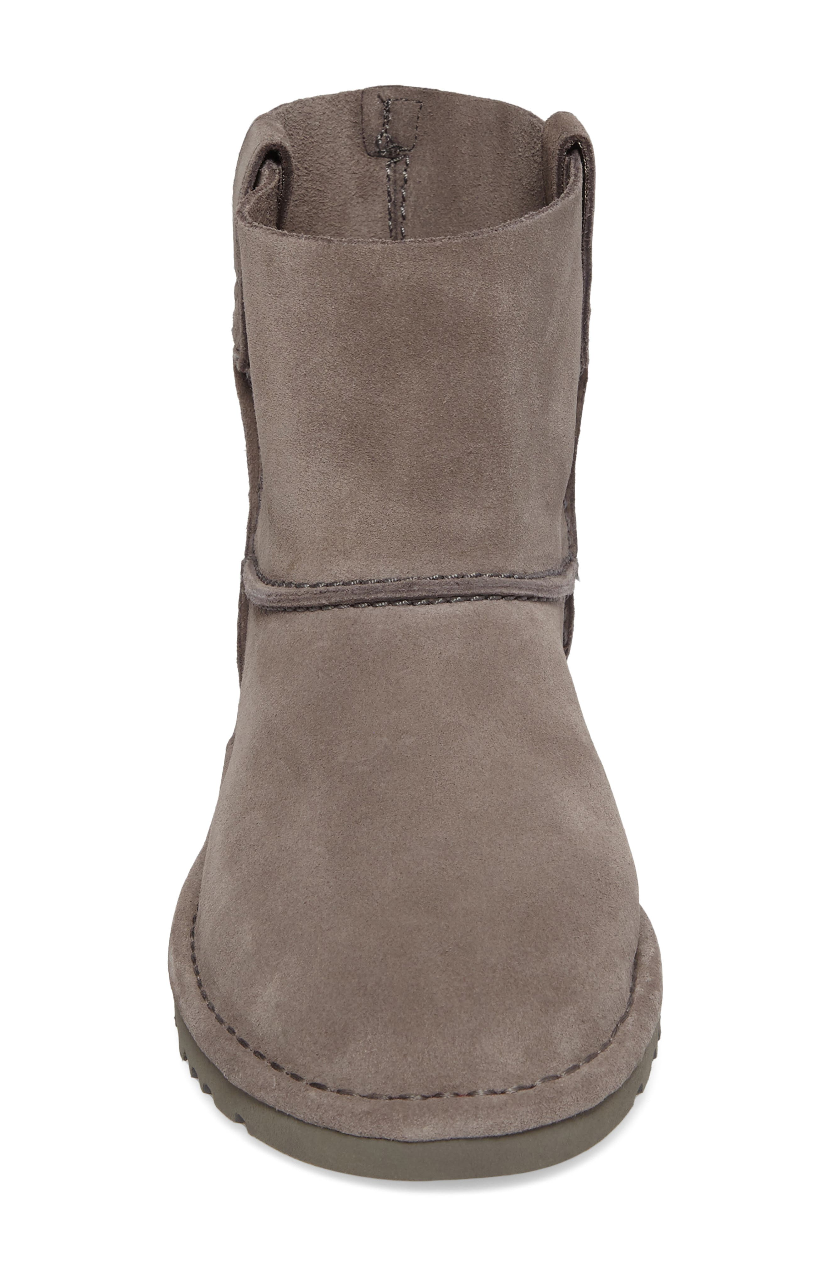 Classic Unlined Mini Boot,                             Alternate thumbnail 4, color,                             Charcoal Suede