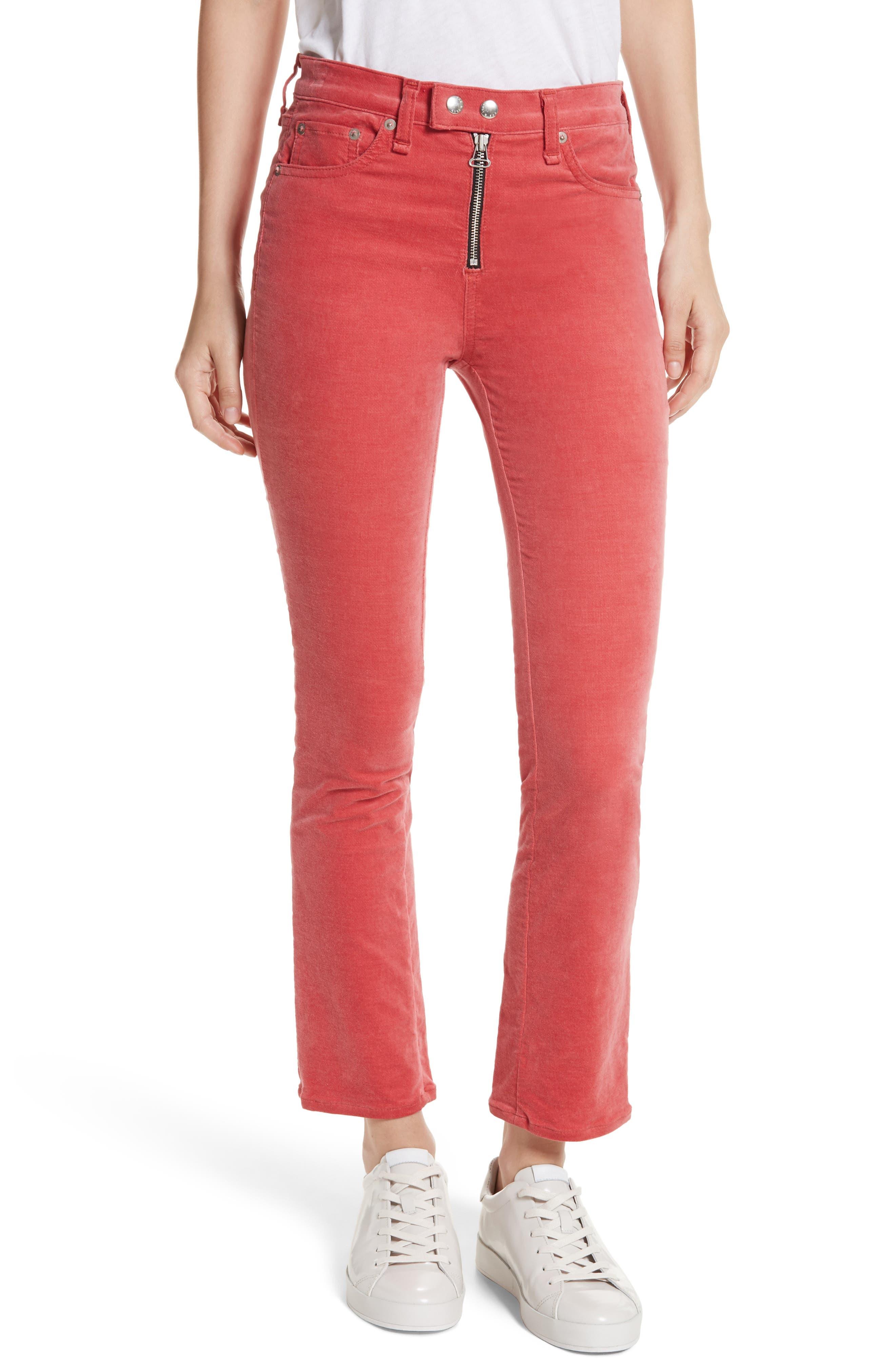 rag & bone/JEAN Dojo High Waist Velvet Ankle Jeans (Washed Red)