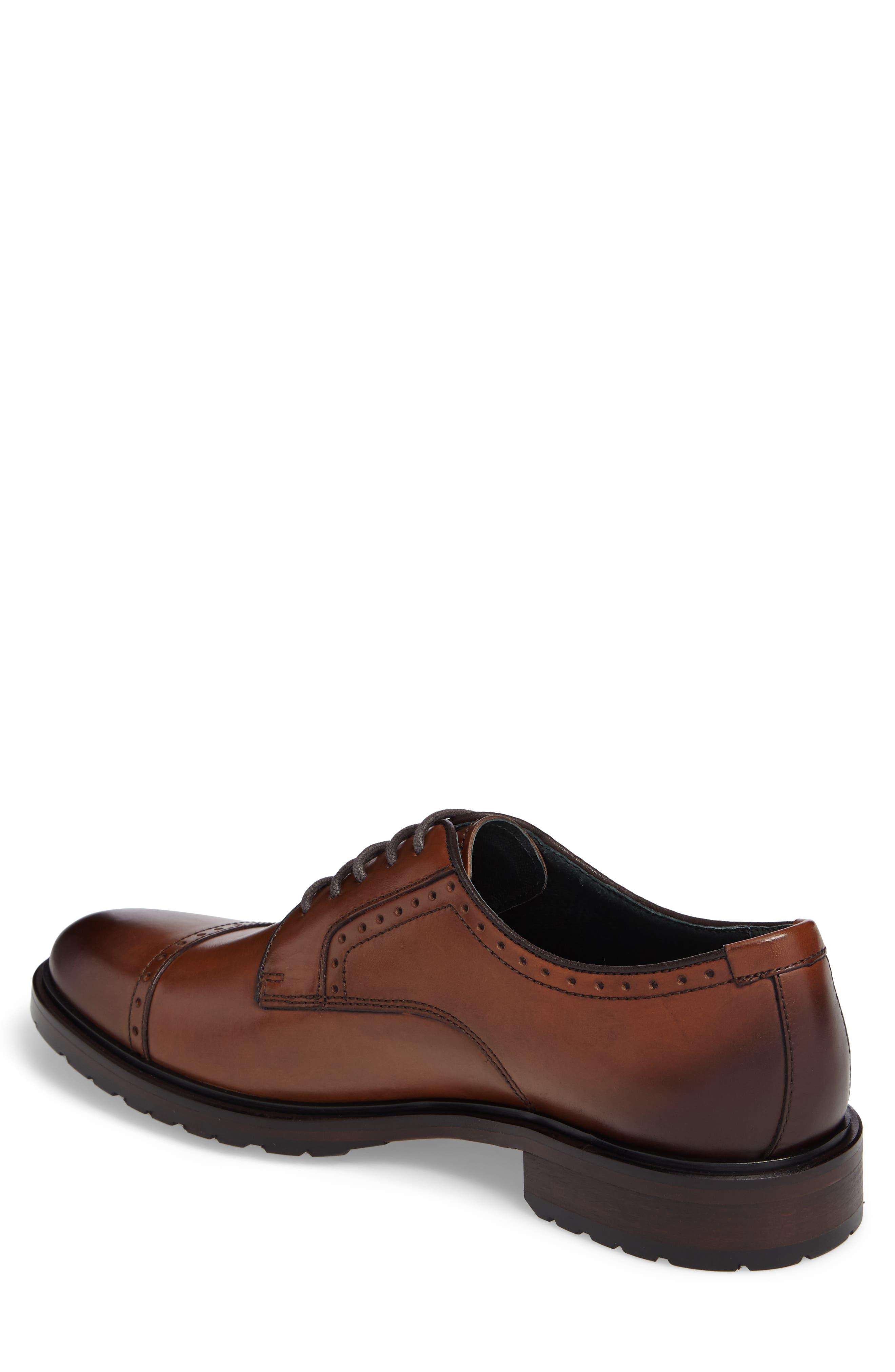 Myles Cap Toe Derby,                             Alternate thumbnail 2, color,                             Dark Cognac Leather