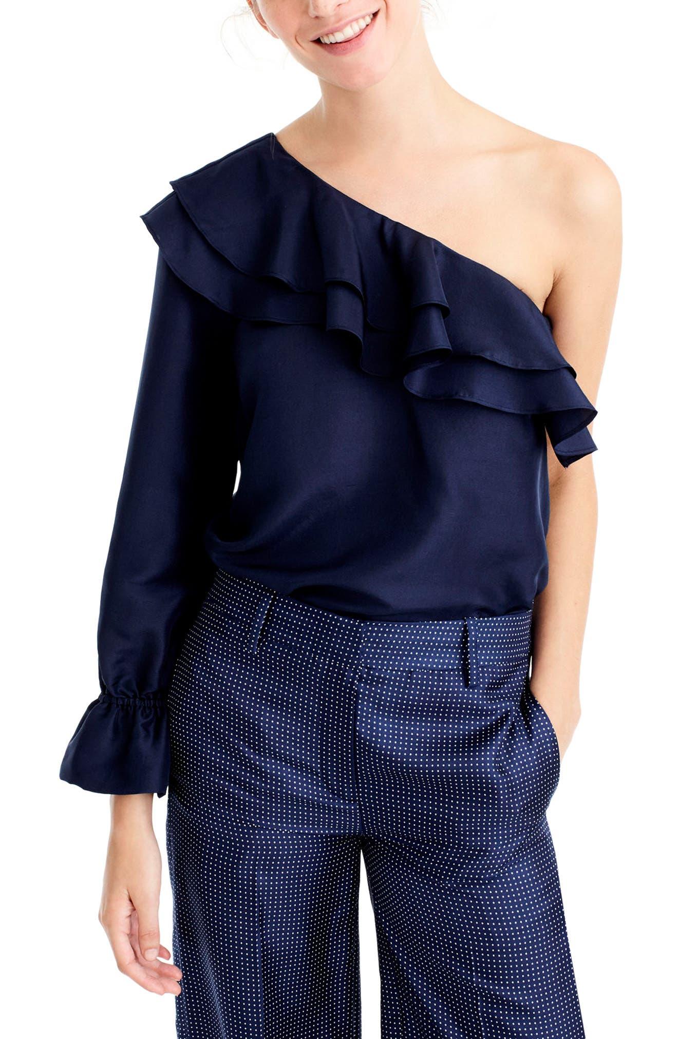 One-Shoulder Silk Shantung Top,                         Main,                         color, Vintage Indigo