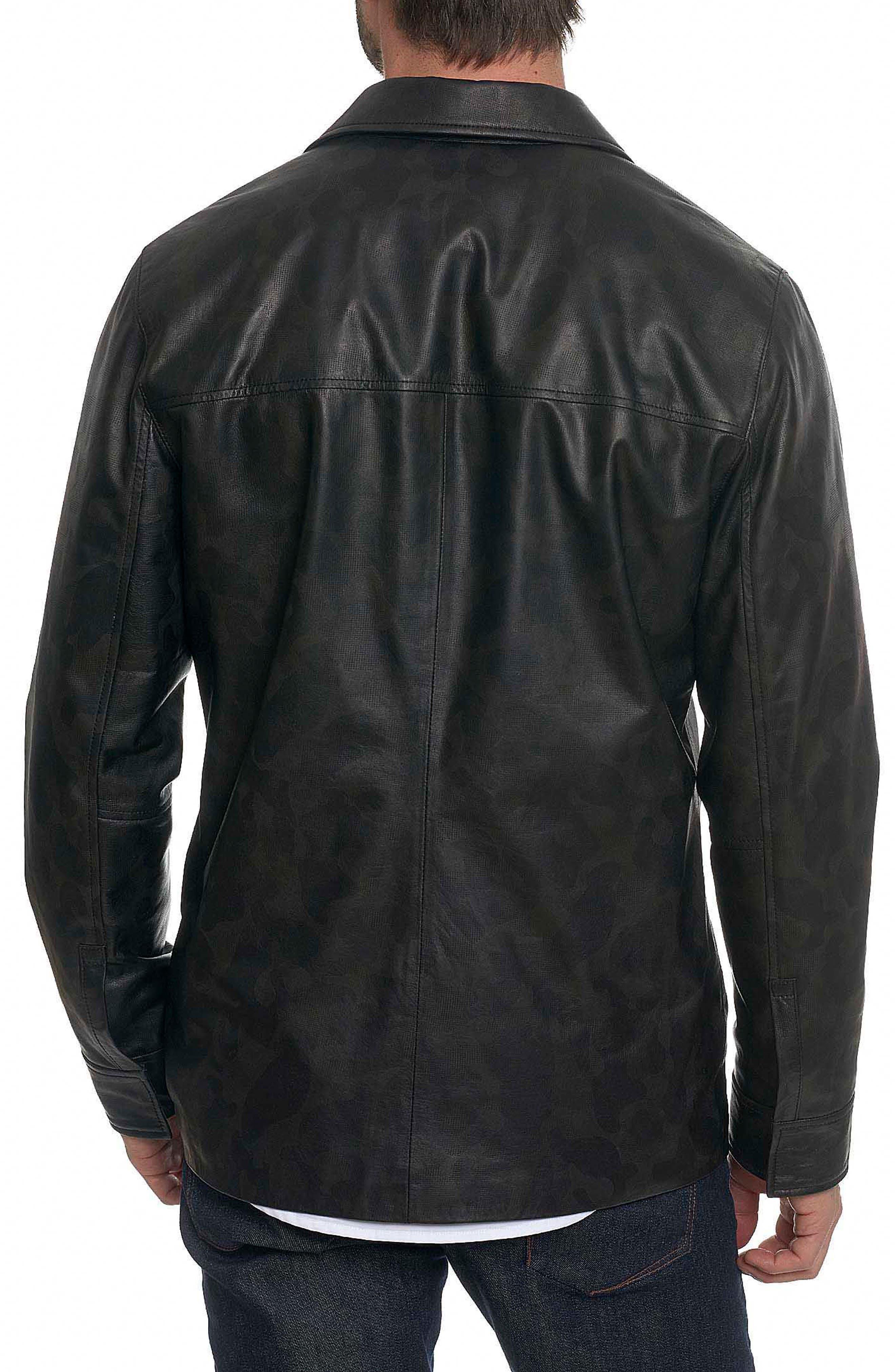 Colden Camo Leather Shirt Jacket,                             Alternate thumbnail 2, color,                             Black