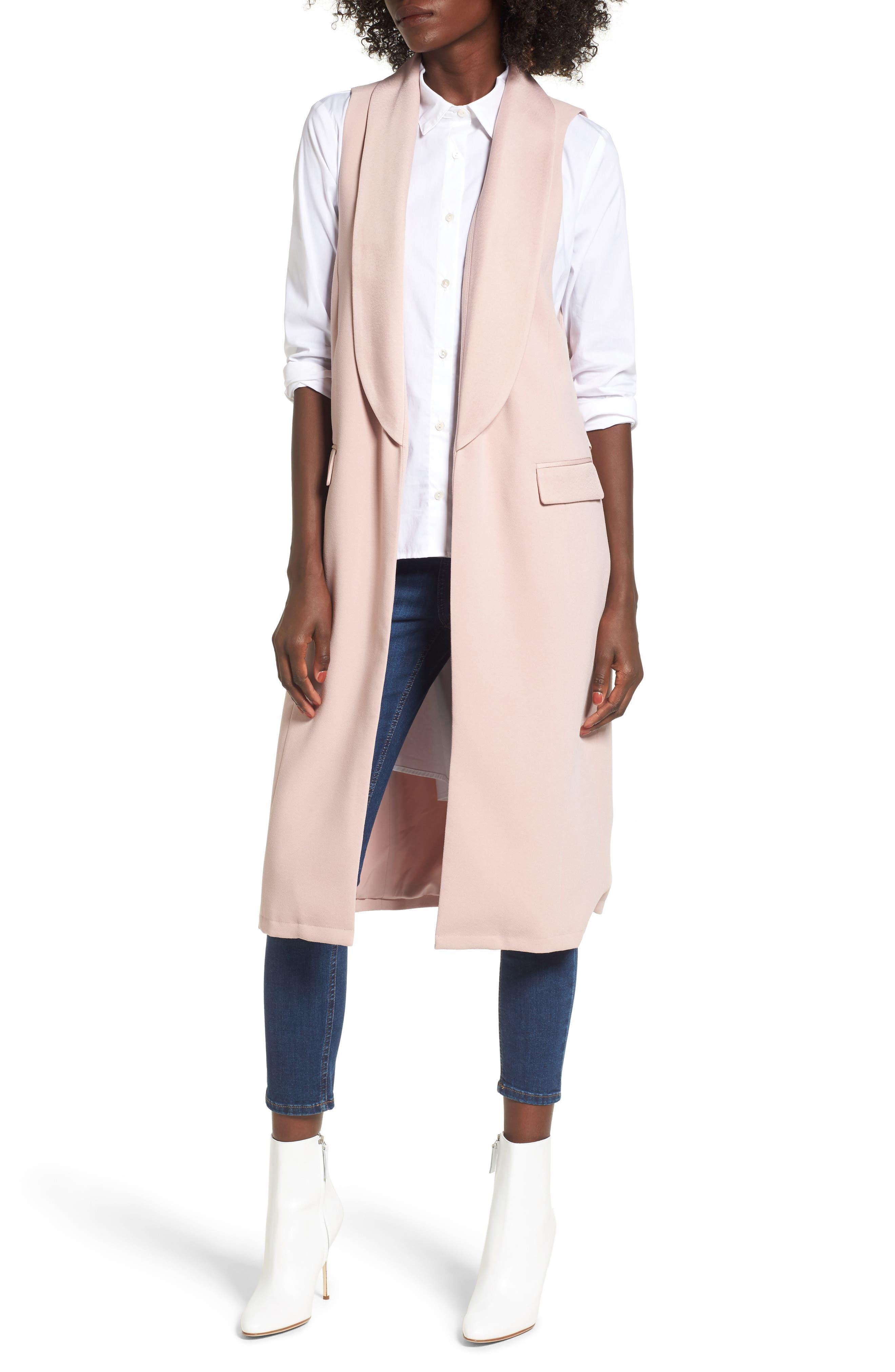 Tuxedo Vest,                             Main thumbnail 1, color,                             Pink Adobe