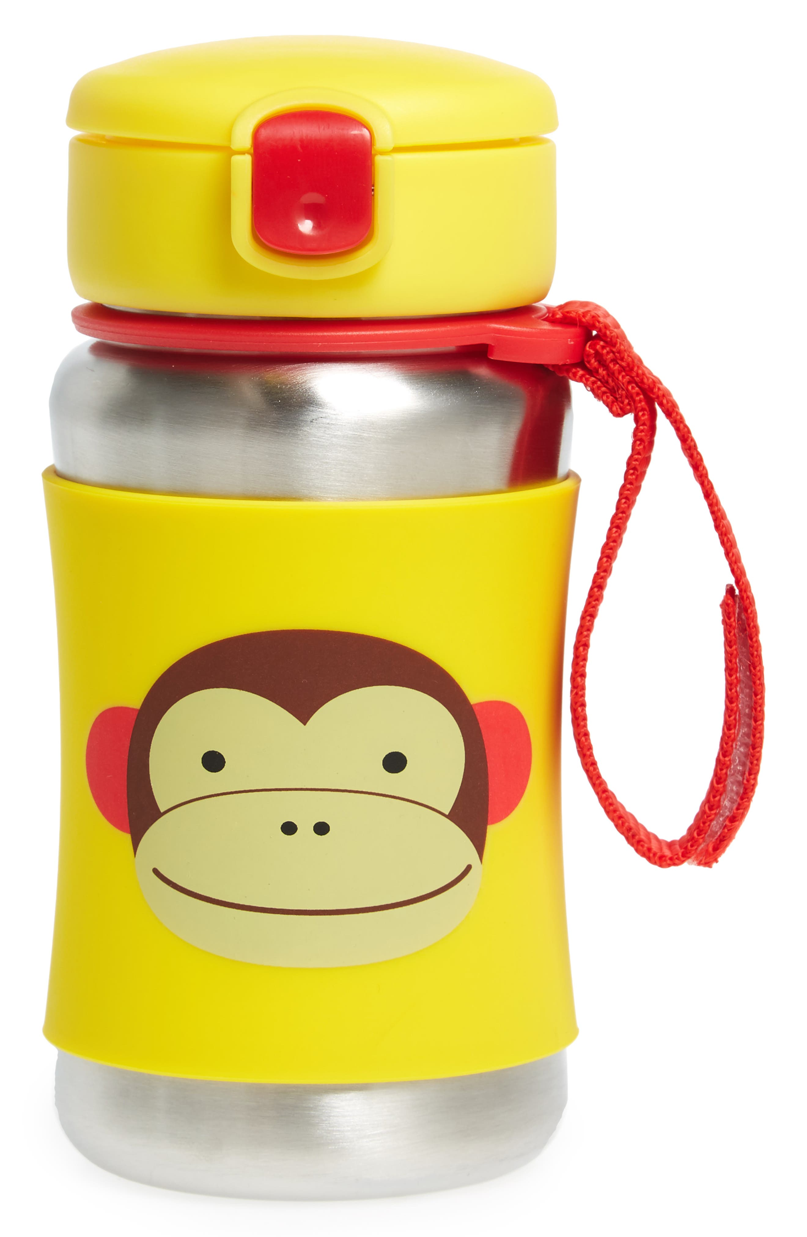 'Zoo - Monkey' Stainless Steel Straw Bottle,                             Main thumbnail 1, color,                             Yellow