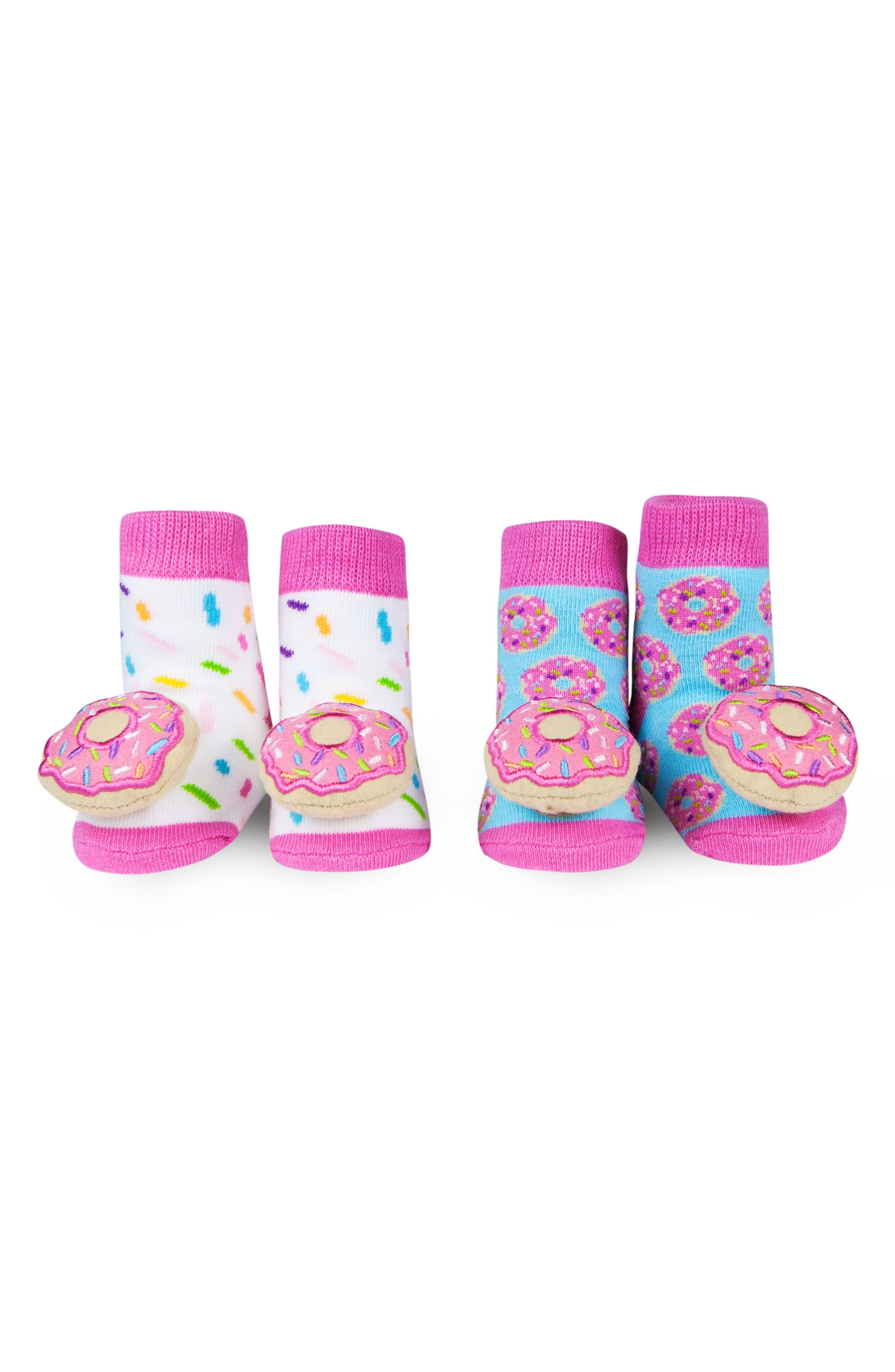 2-Pack Donut Rattle Socks,                         Main,                         color, Pink/ Light Blue