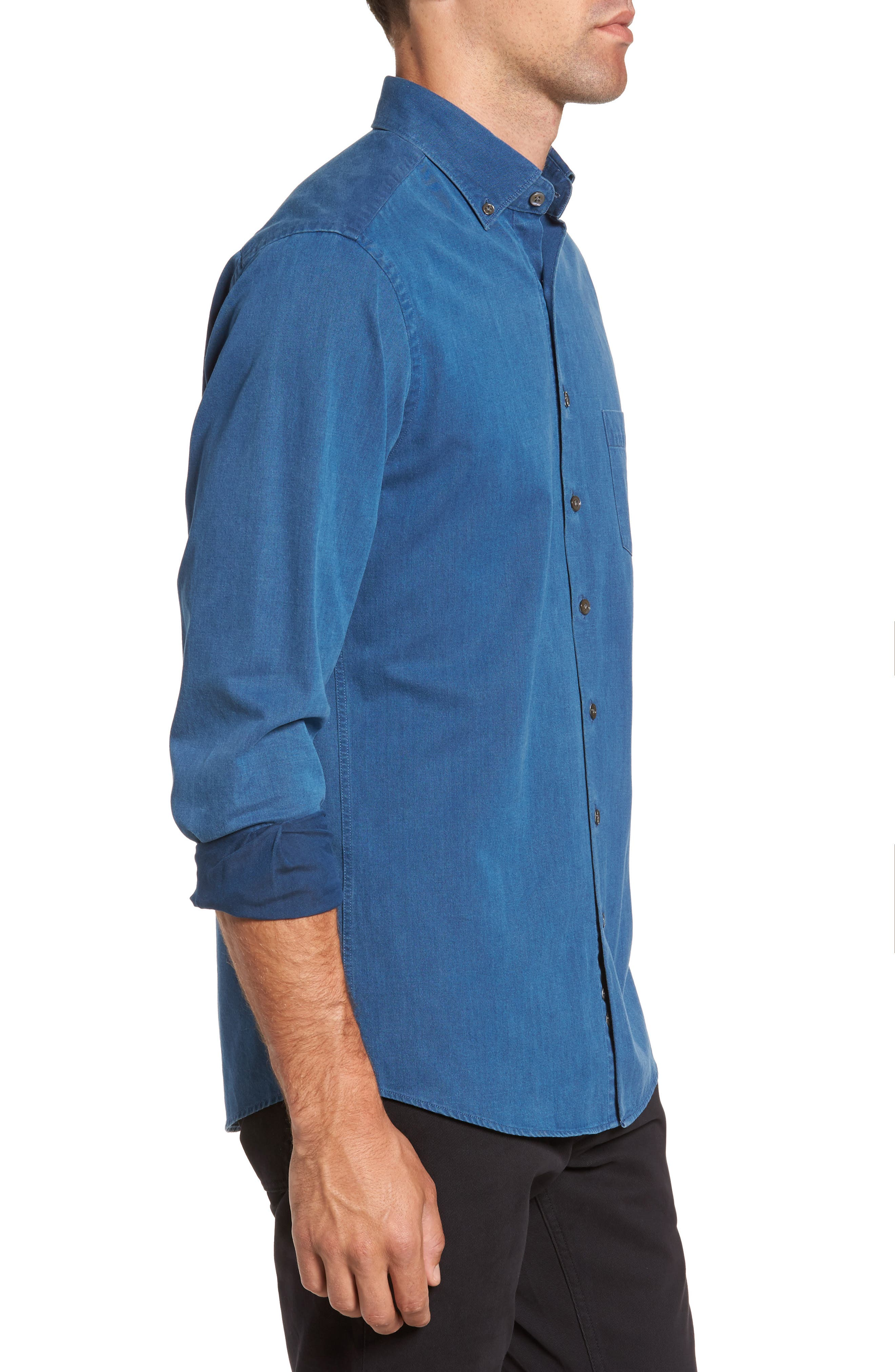 Bayswater Sports Fit Sport Shirt,                             Alternate thumbnail 3, color,                             Indigo