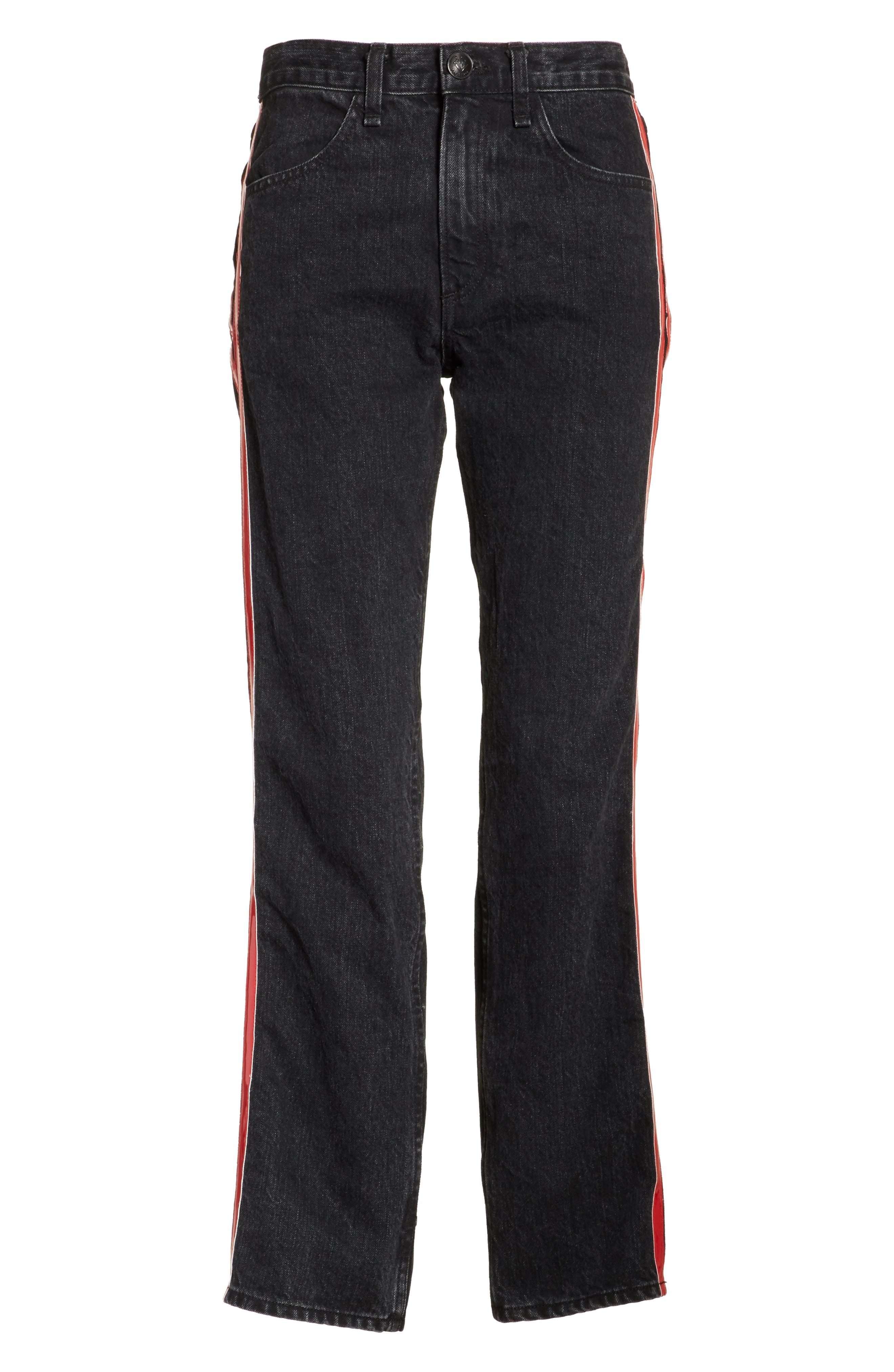 High Waist Straight Leg Jeans,                             Alternate thumbnail 6, color,                             Washed Black