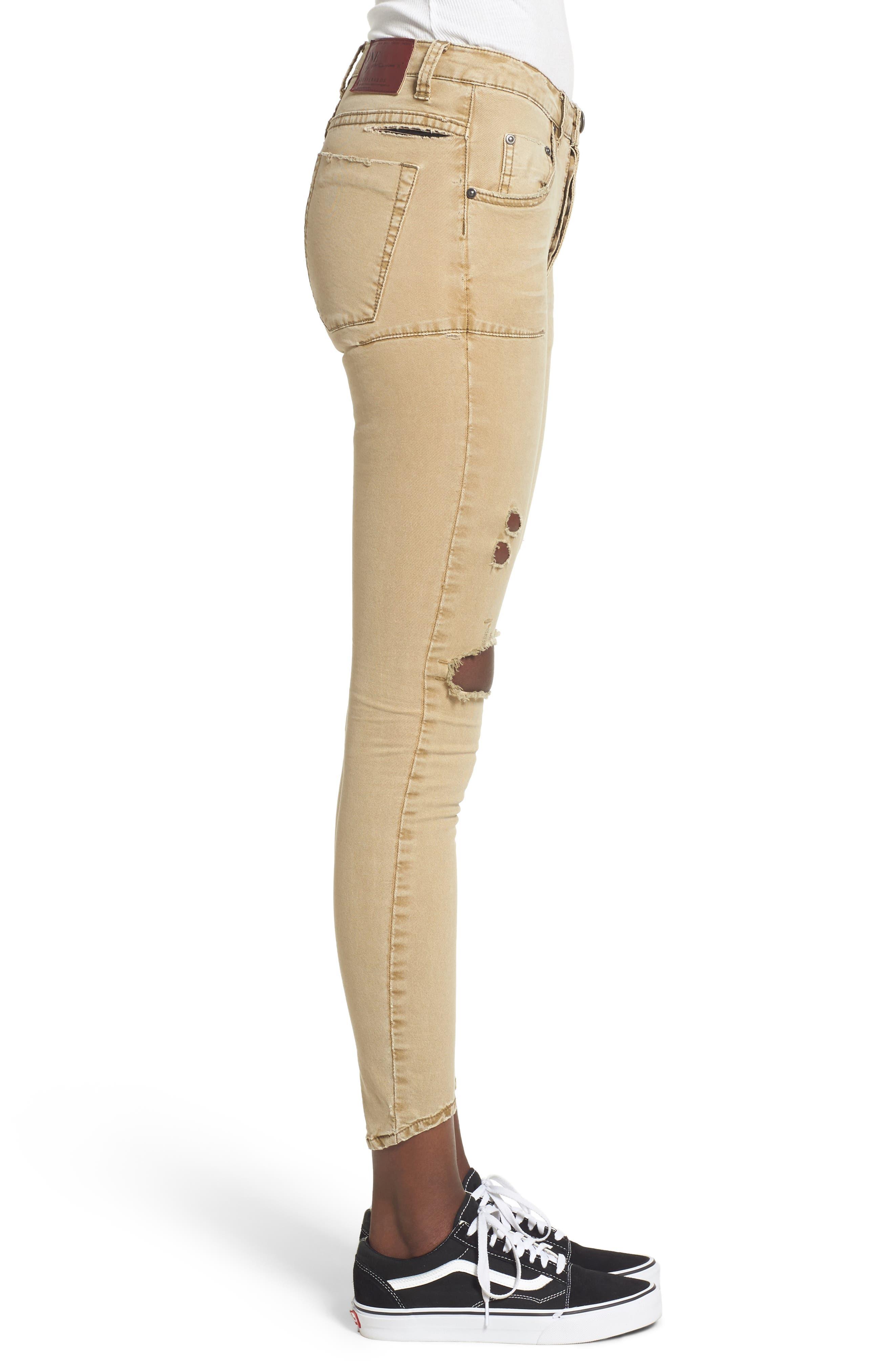 Alternate Image 3  - One Teaspoon Freebirds Ripped Low Waist Skinny Jeans (Tobacco)