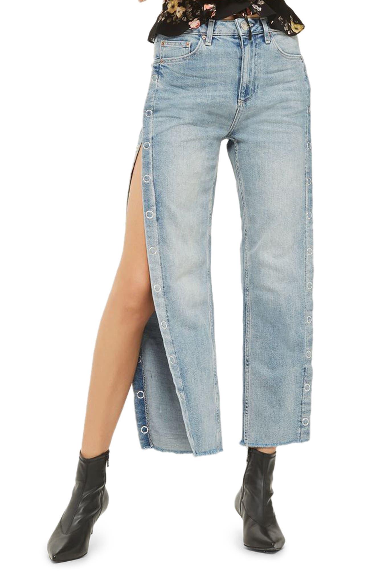Side Snap Straight Leg Jeans,                         Main,                         color, Light Denim