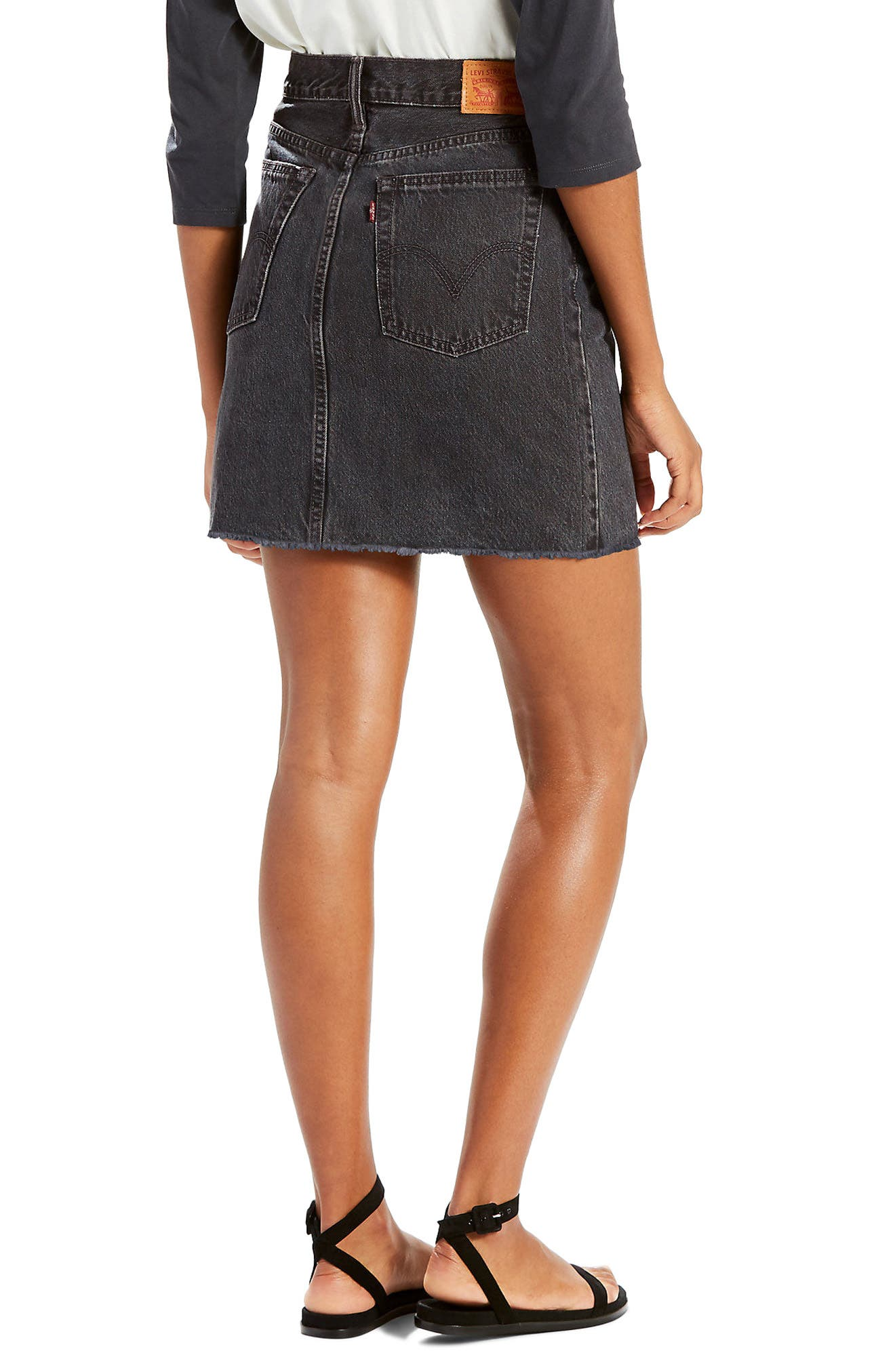Everyday Denim Skirt,                             Alternate thumbnail 2, color,                             Mixed Tape Washed Black Denim