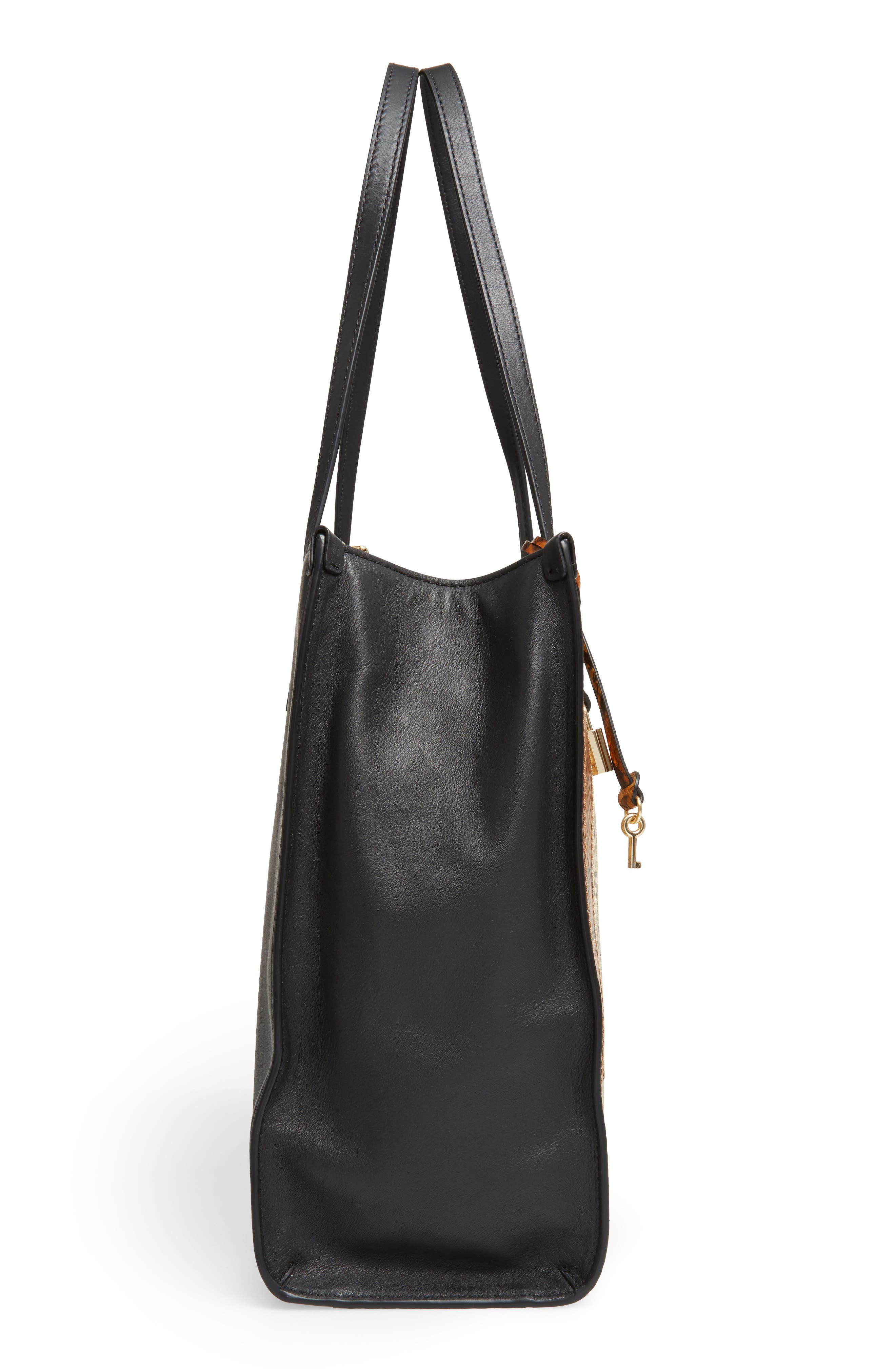 The Snake Grind Leather Tote,                             Alternate thumbnail 3, color,                             Papyrus Multi