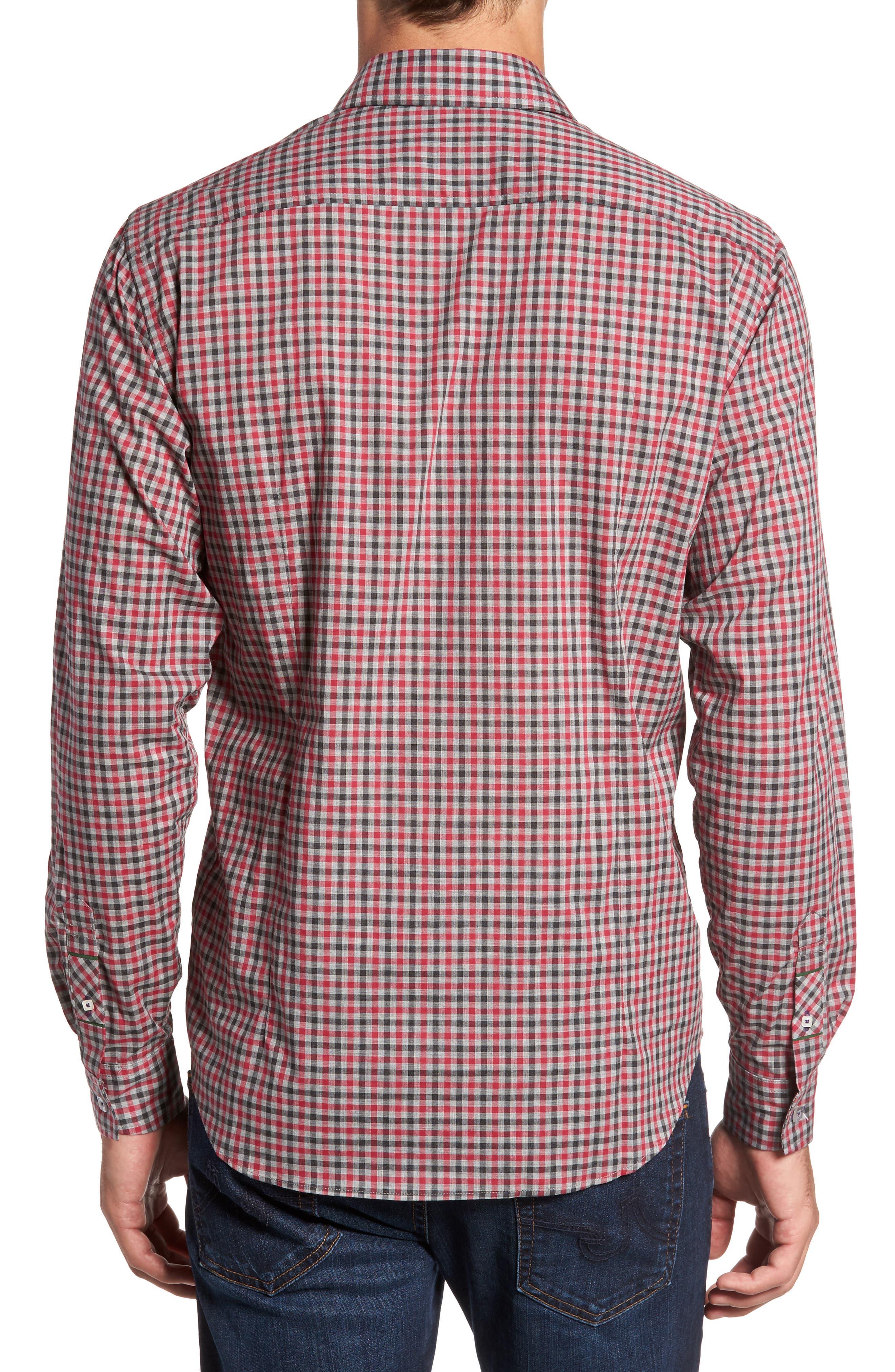 Slim Fit Check Sport Shirt,                             Alternate thumbnail 2, color,                             Medium Red