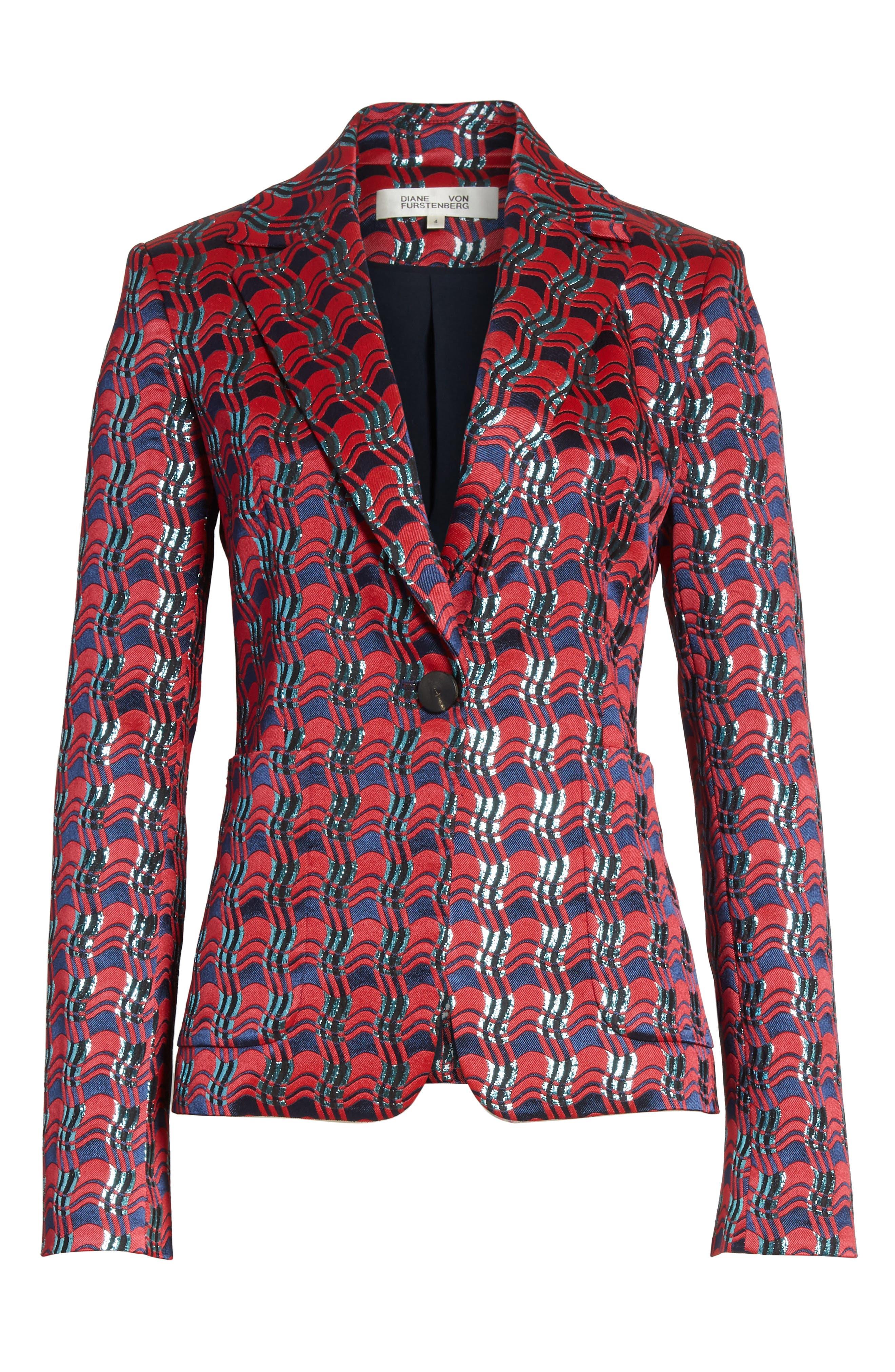 Alternate Image 7  - Diane von Furstenberg Tailored Jacquard Jacket
