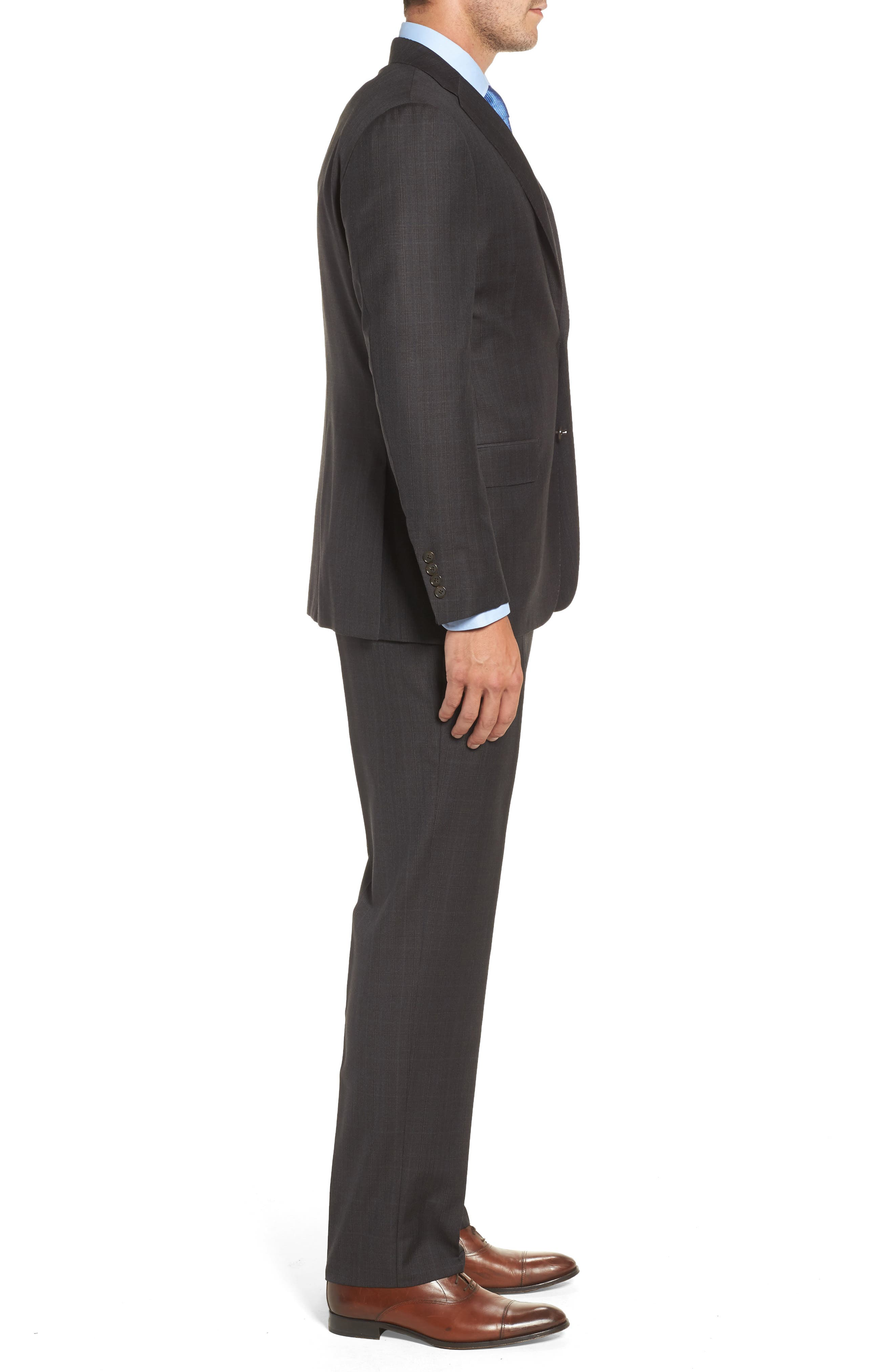 Classic B Fit Check Wool & Cashmere Suit,                             Alternate thumbnail 3, color,                             Brown