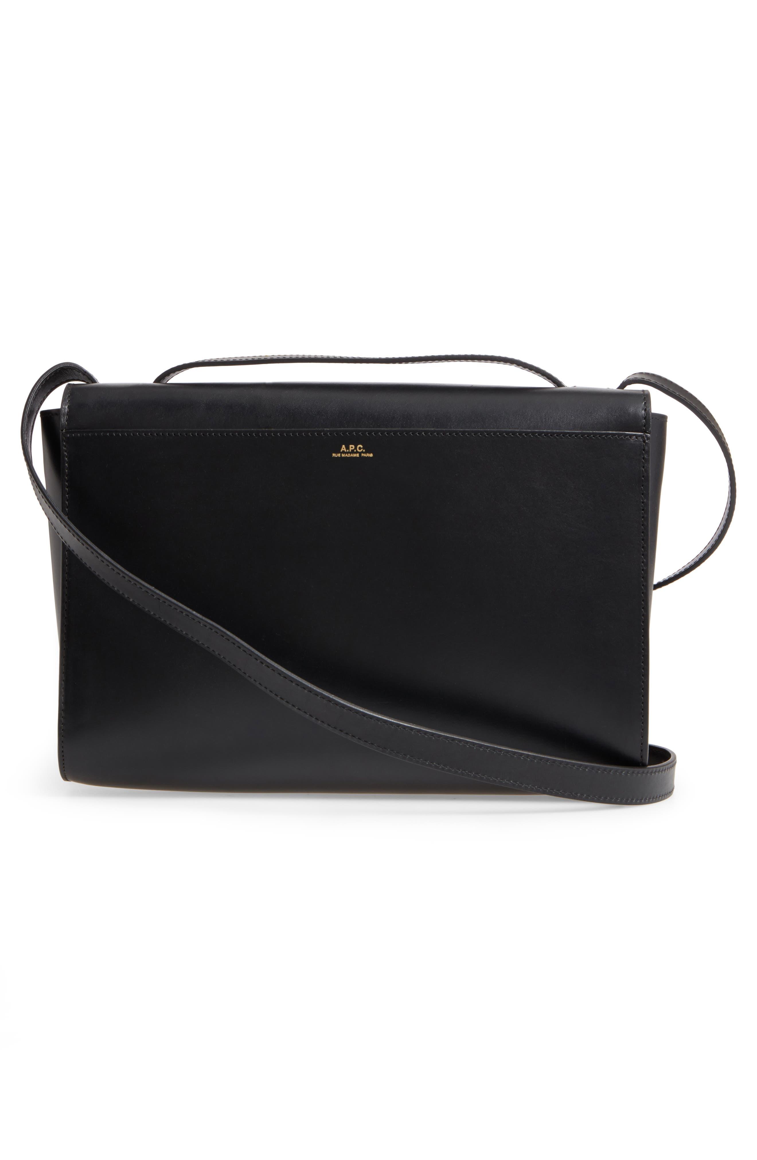 Katy Calfskin Leather Messenger Bag,                             Alternate thumbnail 2, color,                             Noir