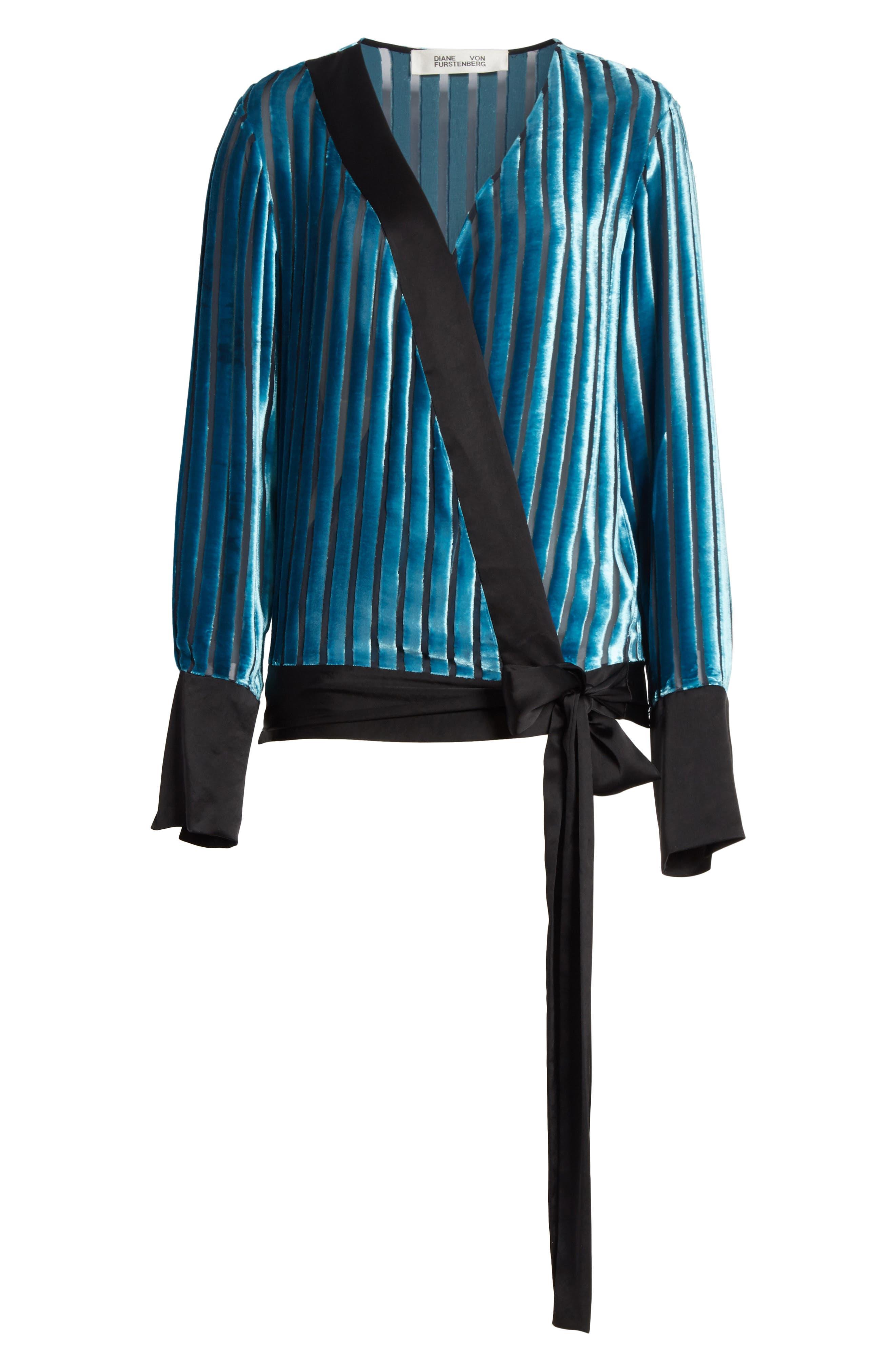 Diane von Furstenberg Velvet Stripe Blouse,                             Alternate thumbnail 6, color,                             Black/ Marine