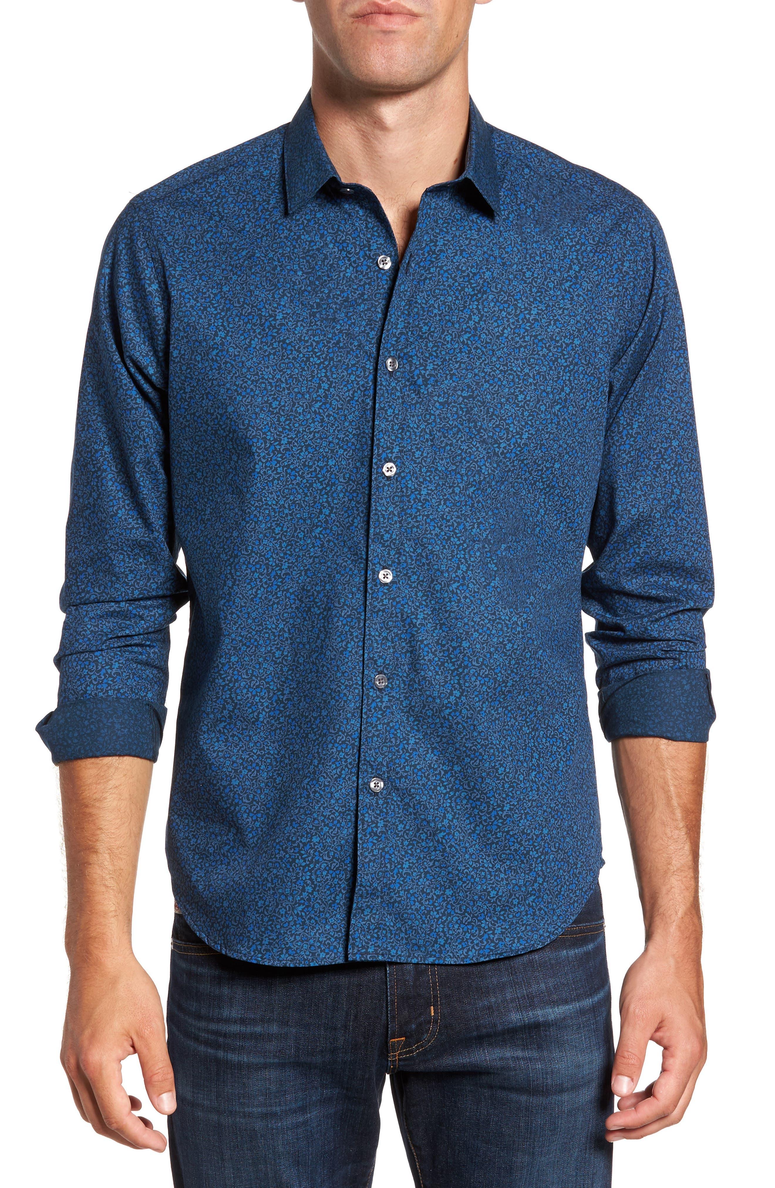 Albany Slim Fit Paisley Print Sport Shirt,                         Main,                         color, Blue