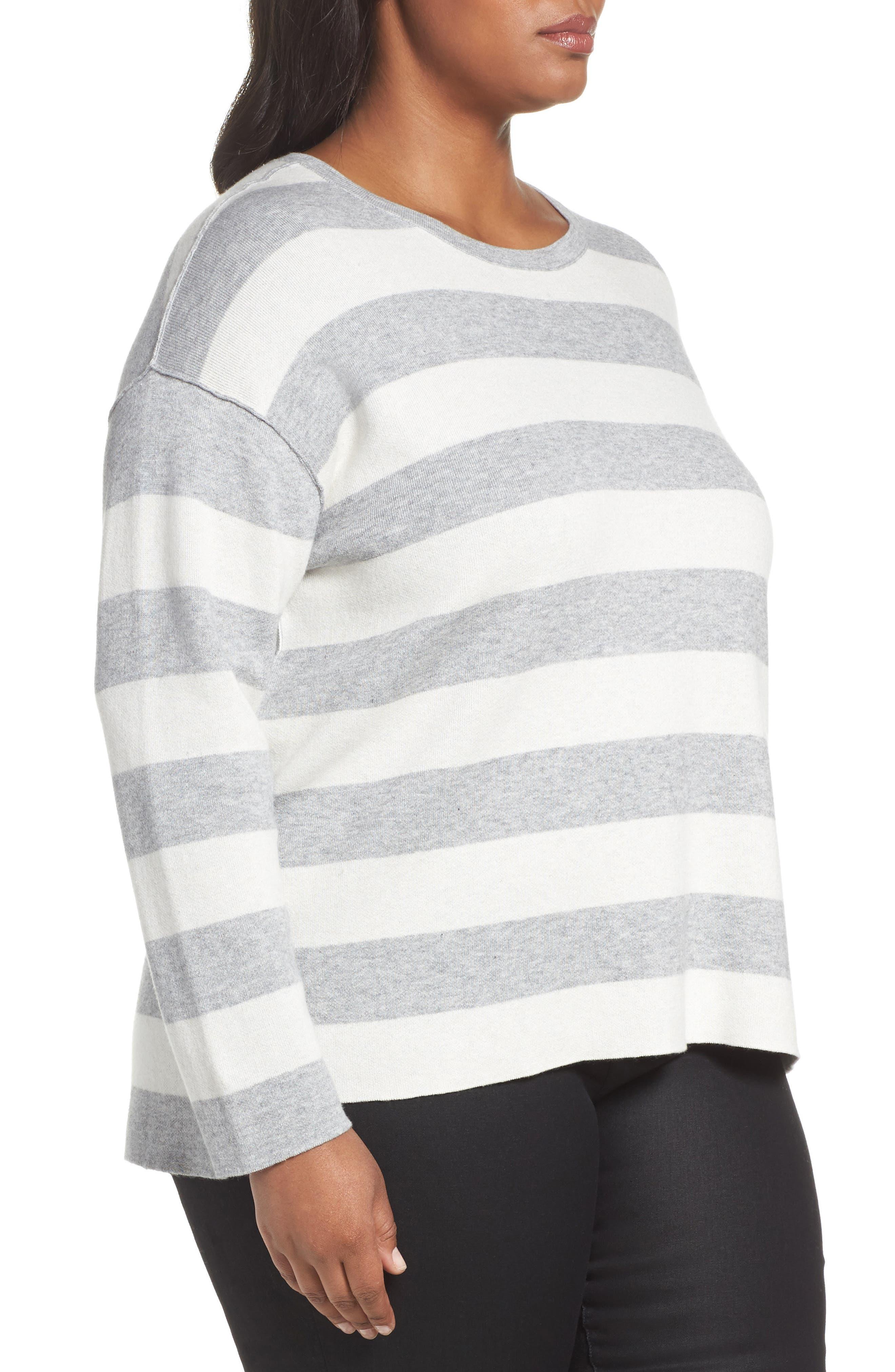 Alternate Image 3  - Eileen Fisher Stripe Organic Cotton Blend Top (Plus Size)