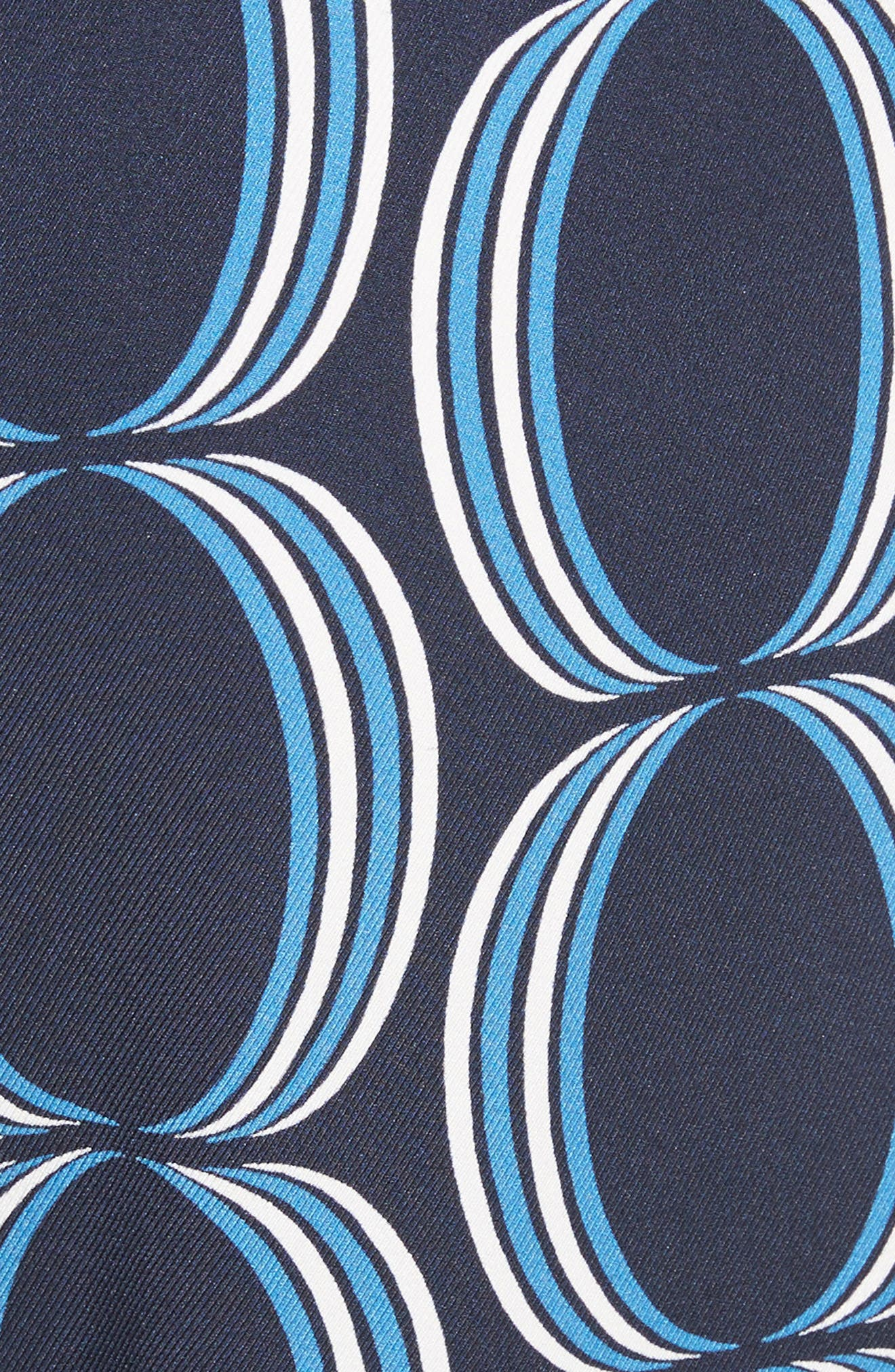 Oval Print Stretch Silk Twill Pants,                             Alternate thumbnail 5, color,                             Navy Multi