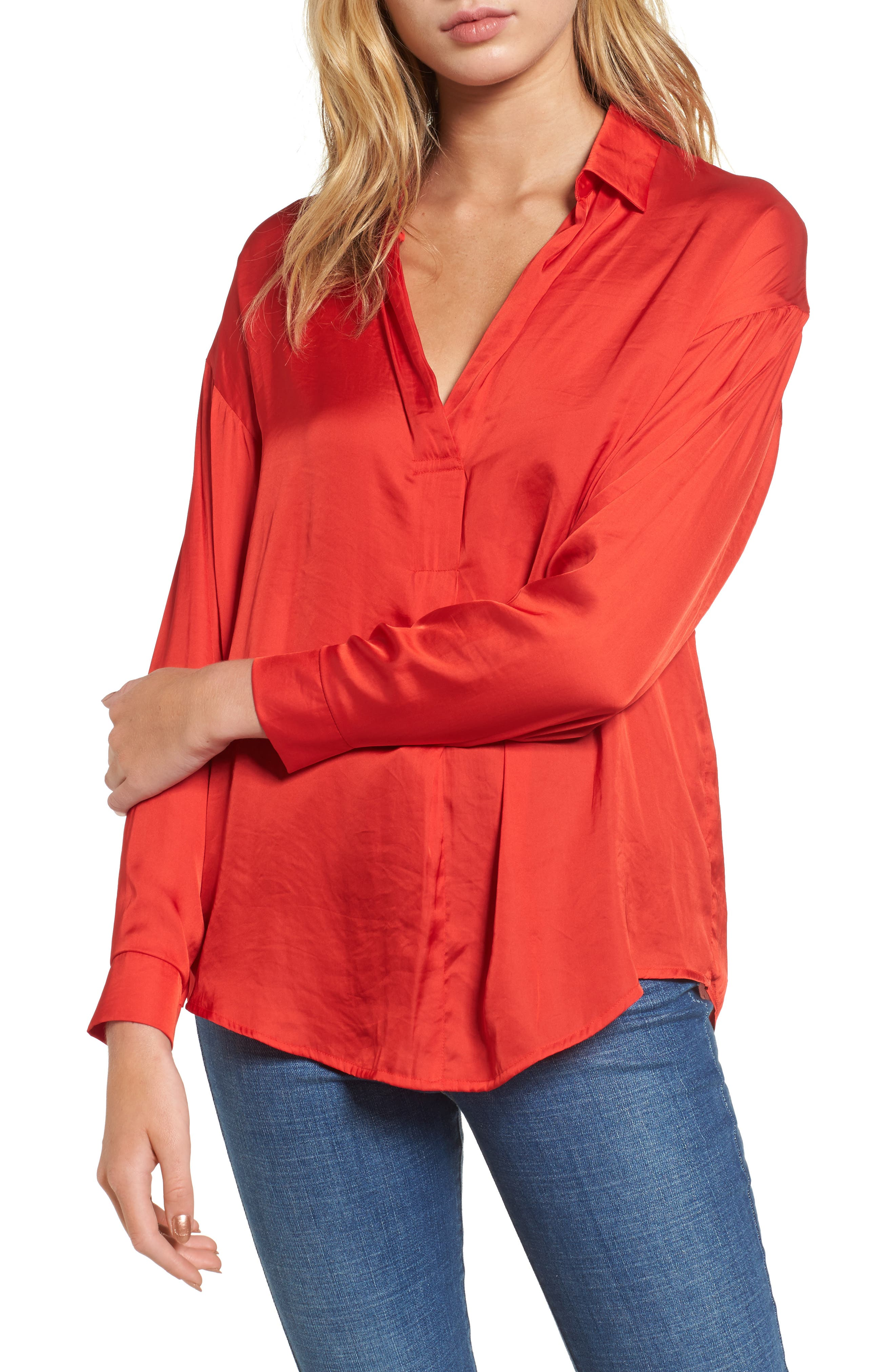 Satin Henley,                             Main thumbnail 1, color,                             Firey Red