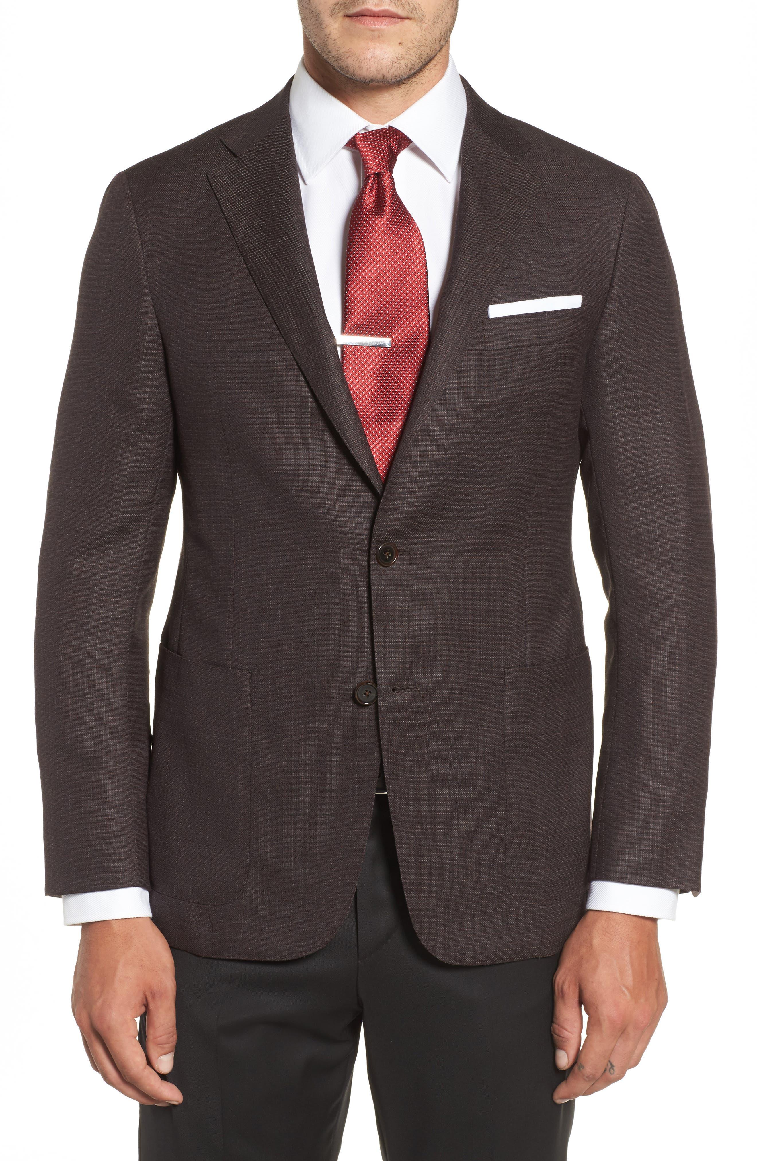 Classic B Fit Wool Blazer,                         Main,                         color, Dark Red