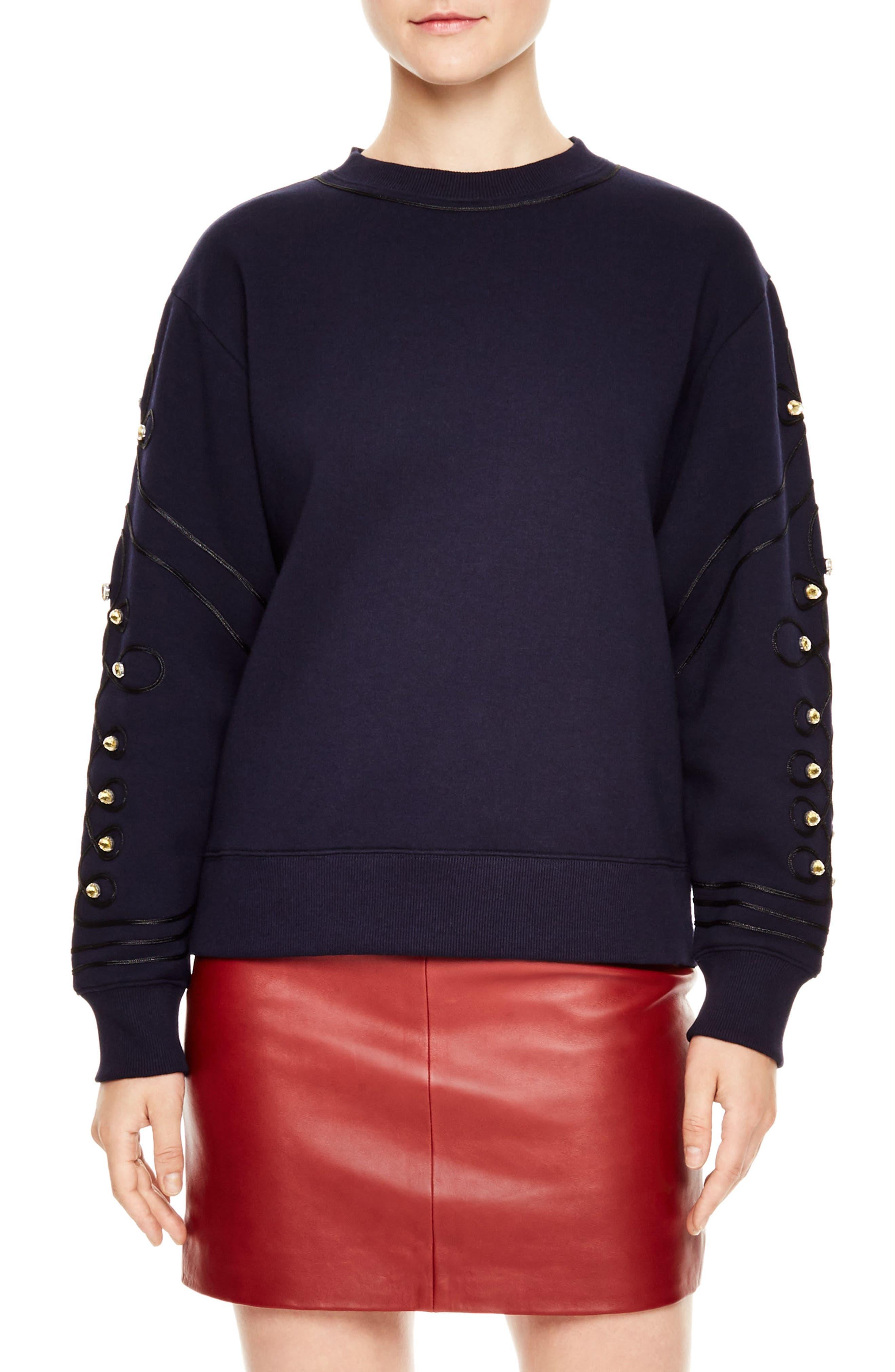 Embellished Sweatshirt,                         Main,                         color, Navy
