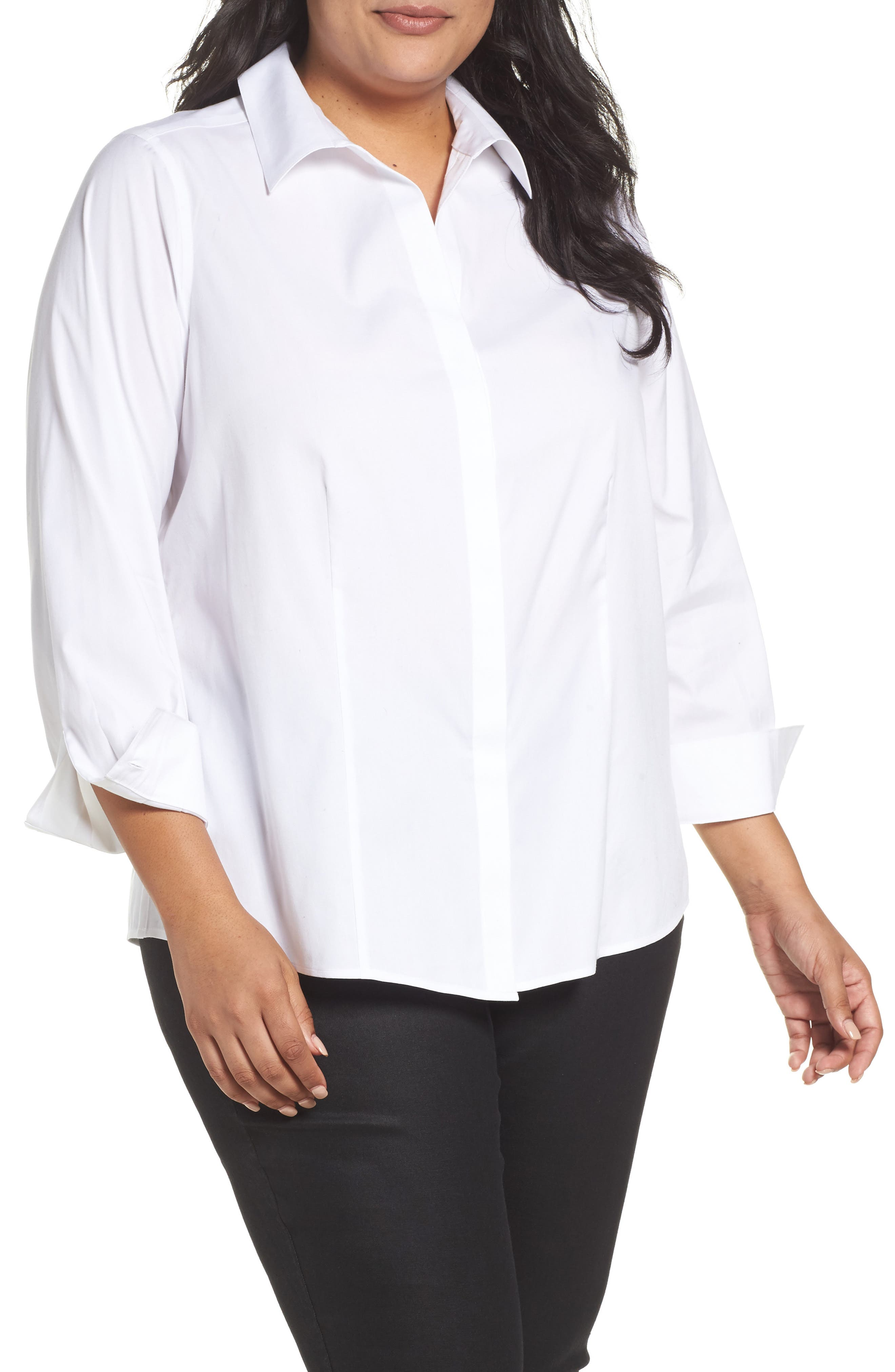 Foxcroft Ellen Solid Stretch Cotton Top (Plus Size)