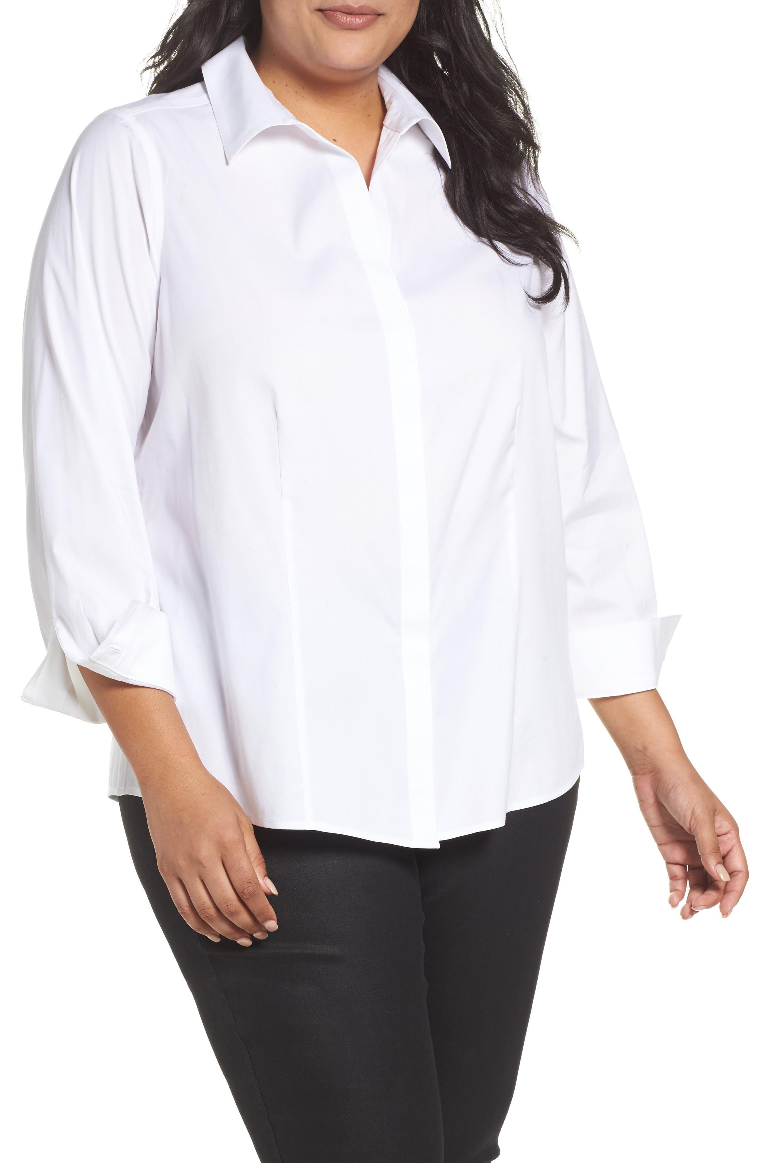 Foxcroft Ellen Solid Stretch Cotton Top (Plus Size)