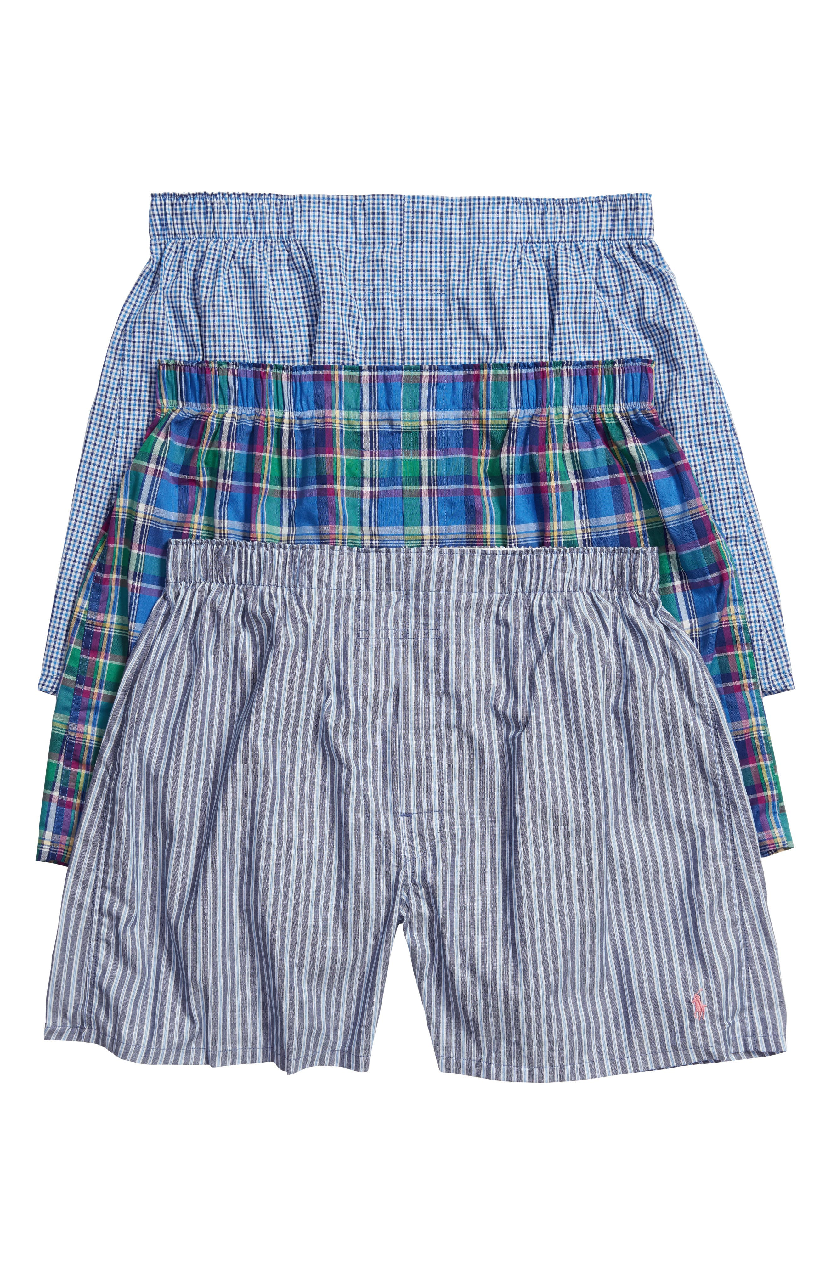 Main Image - Polo Ralph Lauren Assorted 3-Pack Woven Cotton Boxers