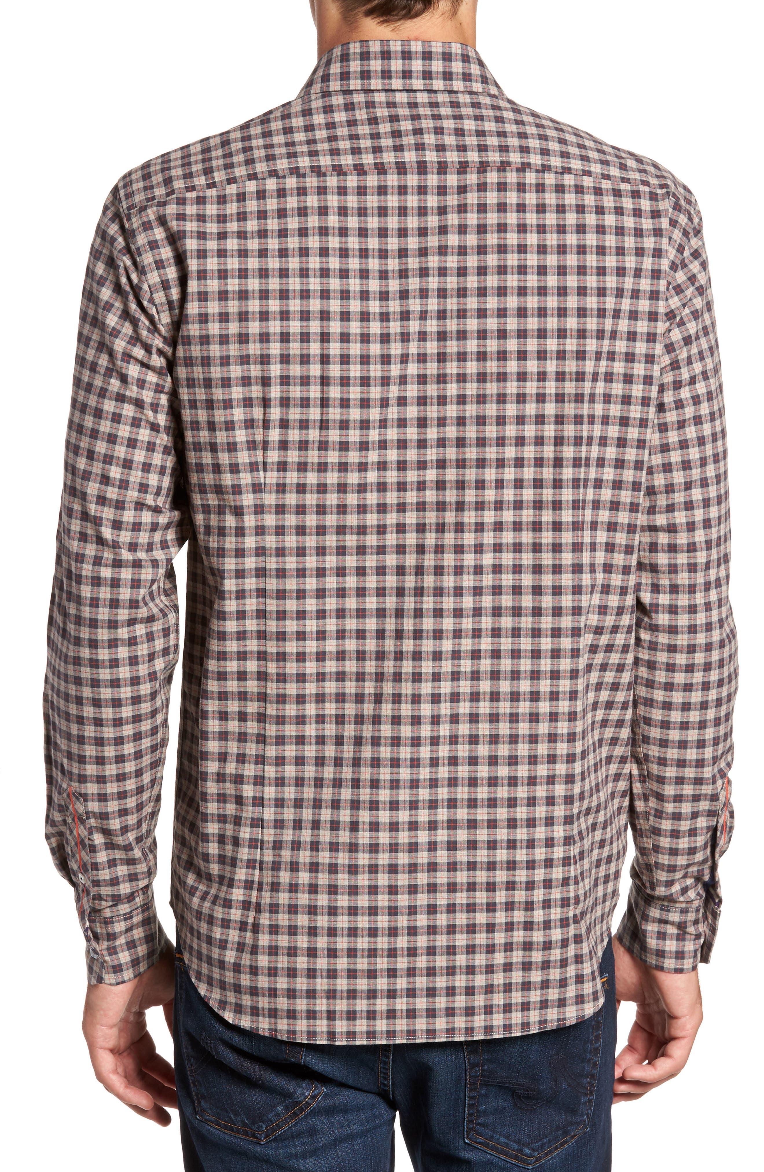 Comfort Fit Plaid Sport Shirt,                             Alternate thumbnail 2, color,                             Medium Brown