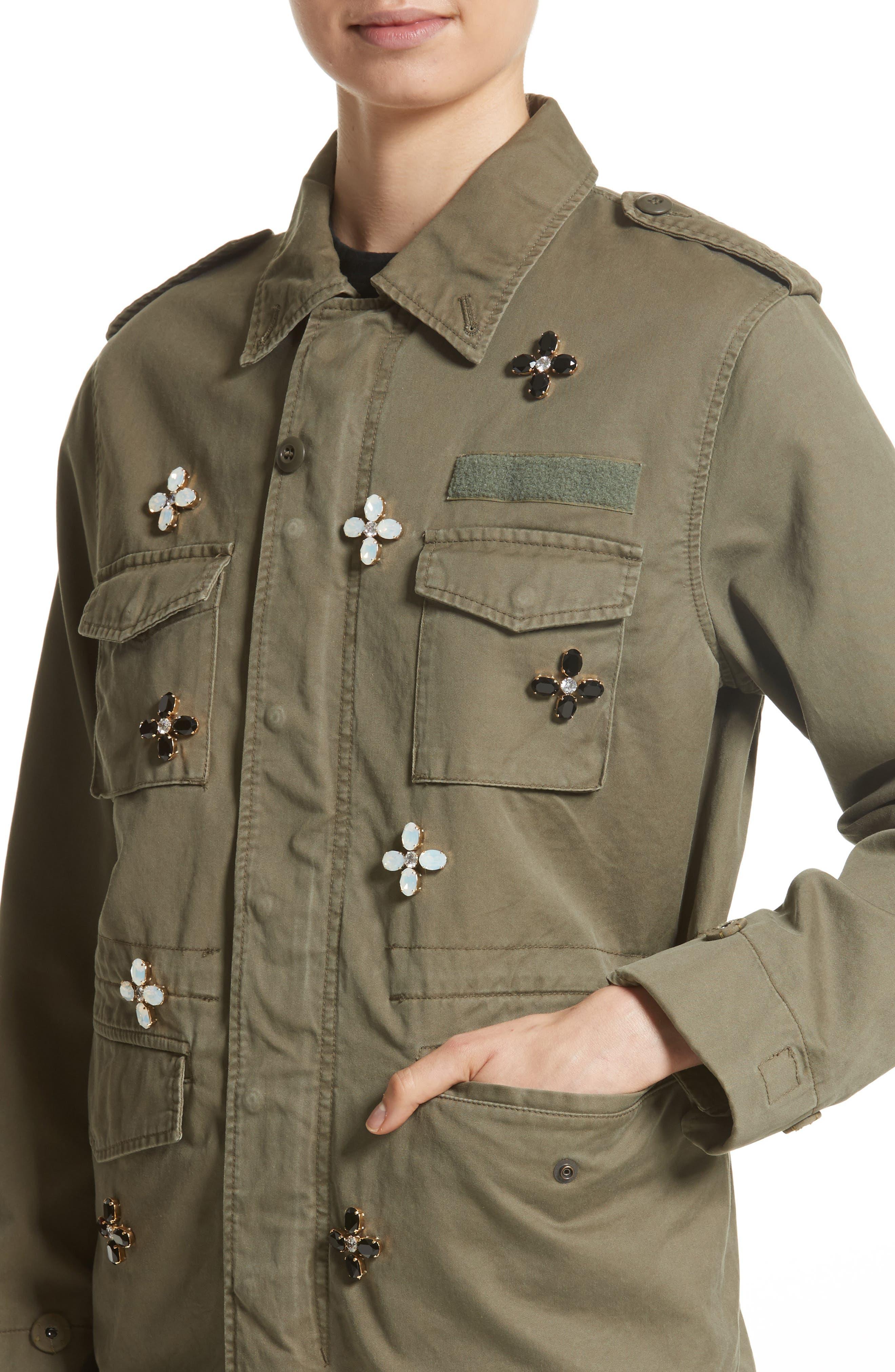 Bijou Flower Field Jacket,                             Alternate thumbnail 4, color,                             Khaki