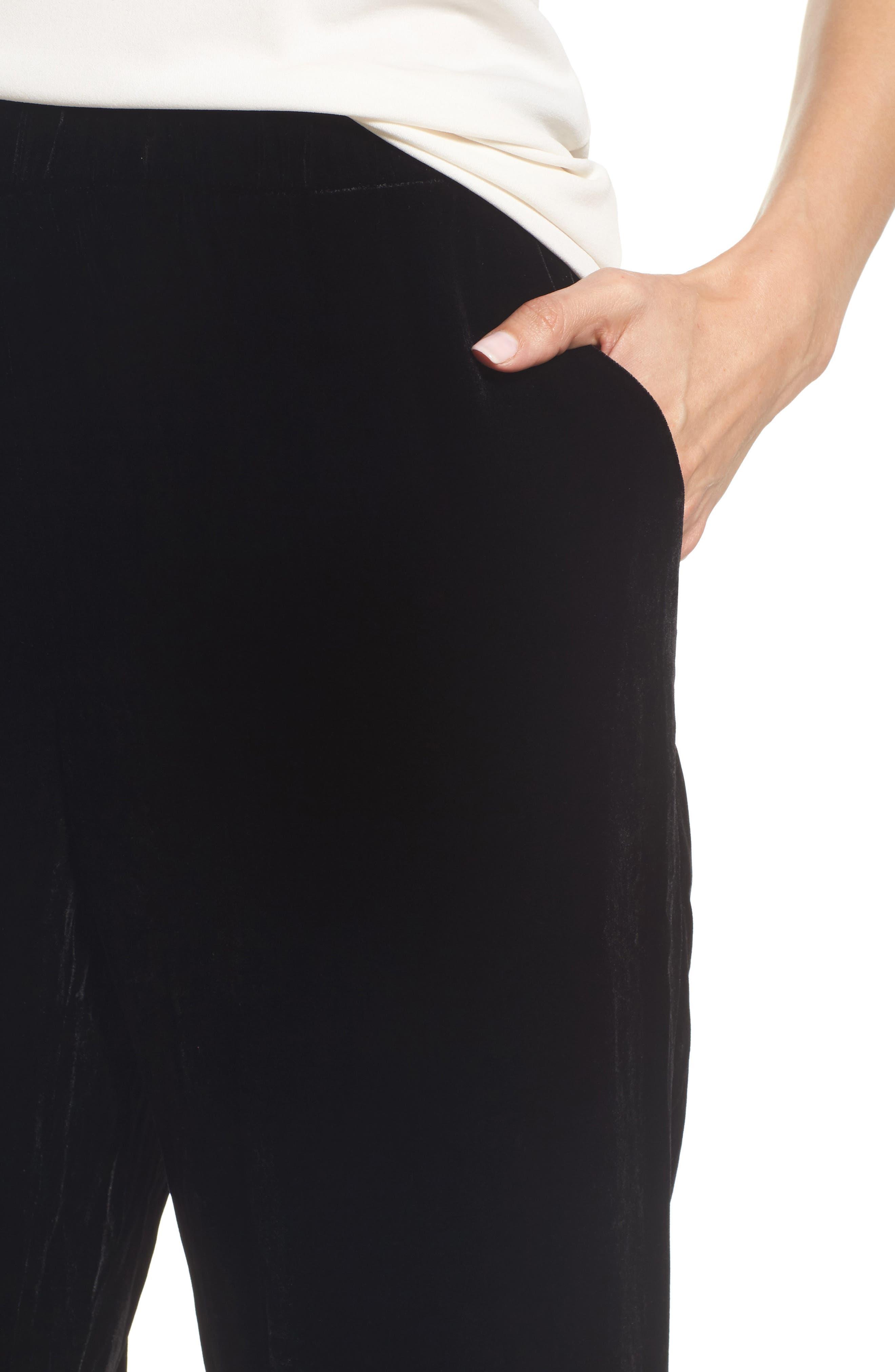 Velvet Jogger Pants,                             Alternate thumbnail 4, color,                             Black