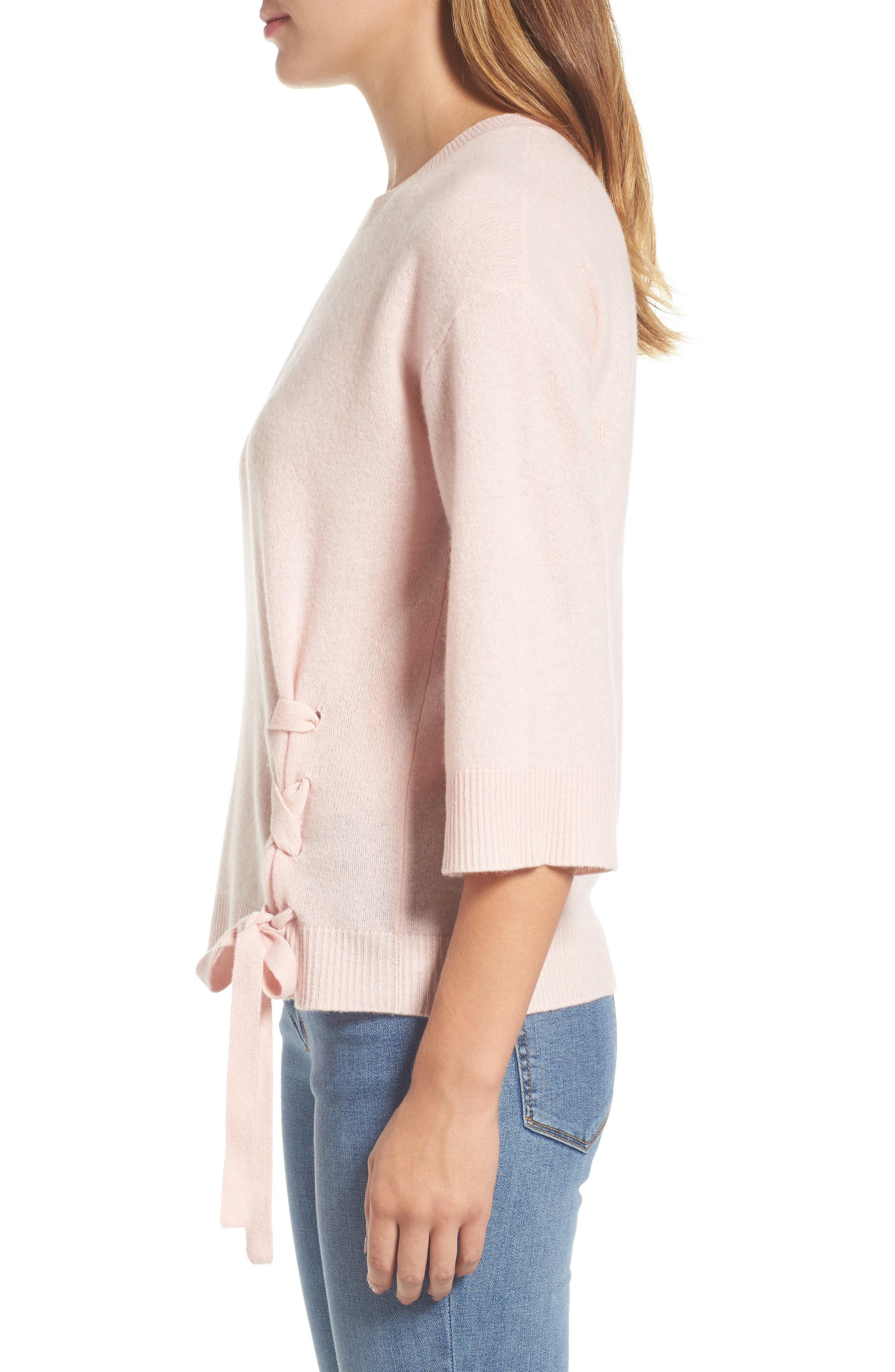 Side Tie Wool and Cashmere Sweater,                             Alternate thumbnail 3, color,                             Pink Smoke