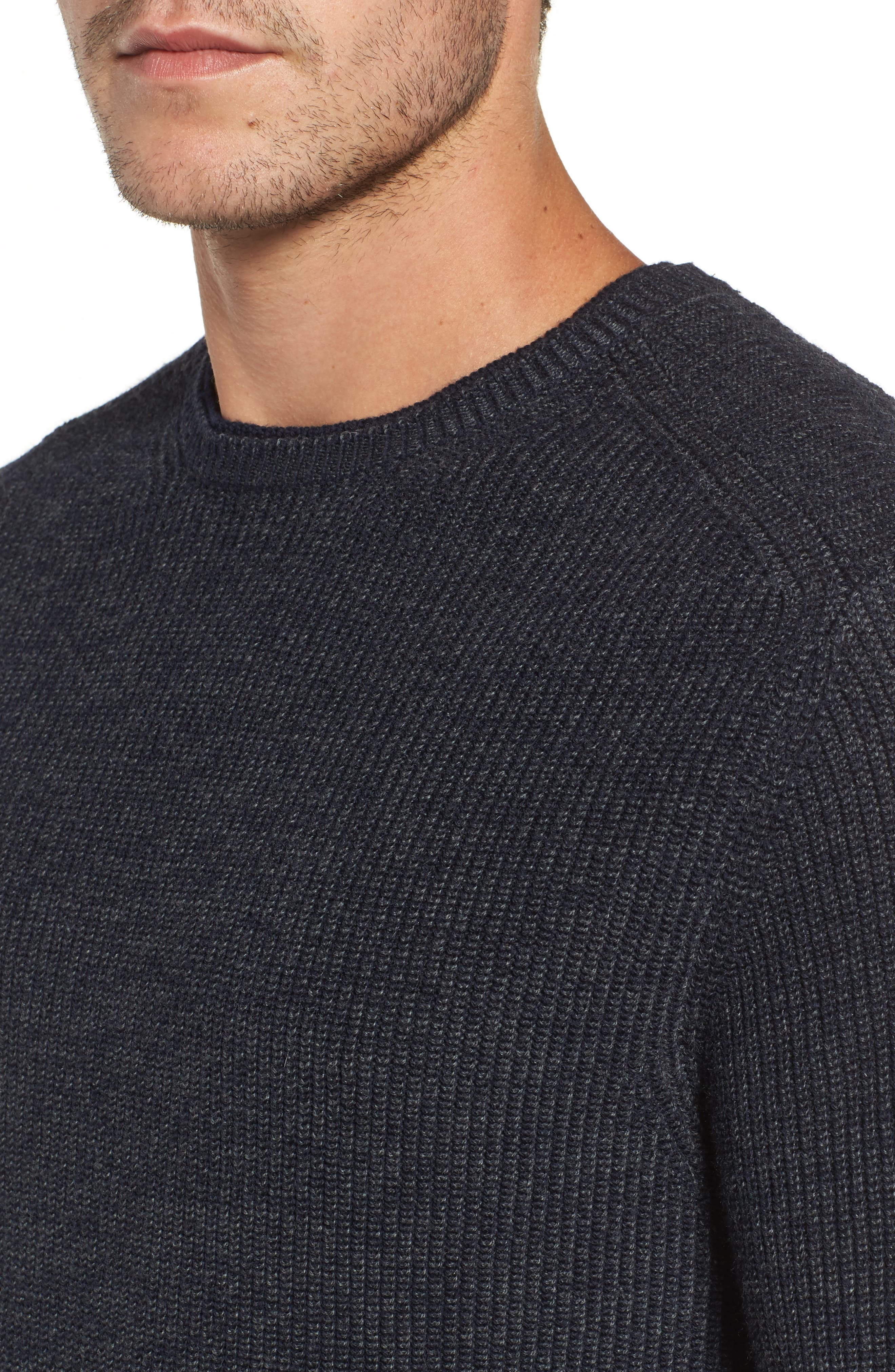 Whalers Bay Ribbed Merino Wool Sweater,                             Alternate thumbnail 4, color,                             Night