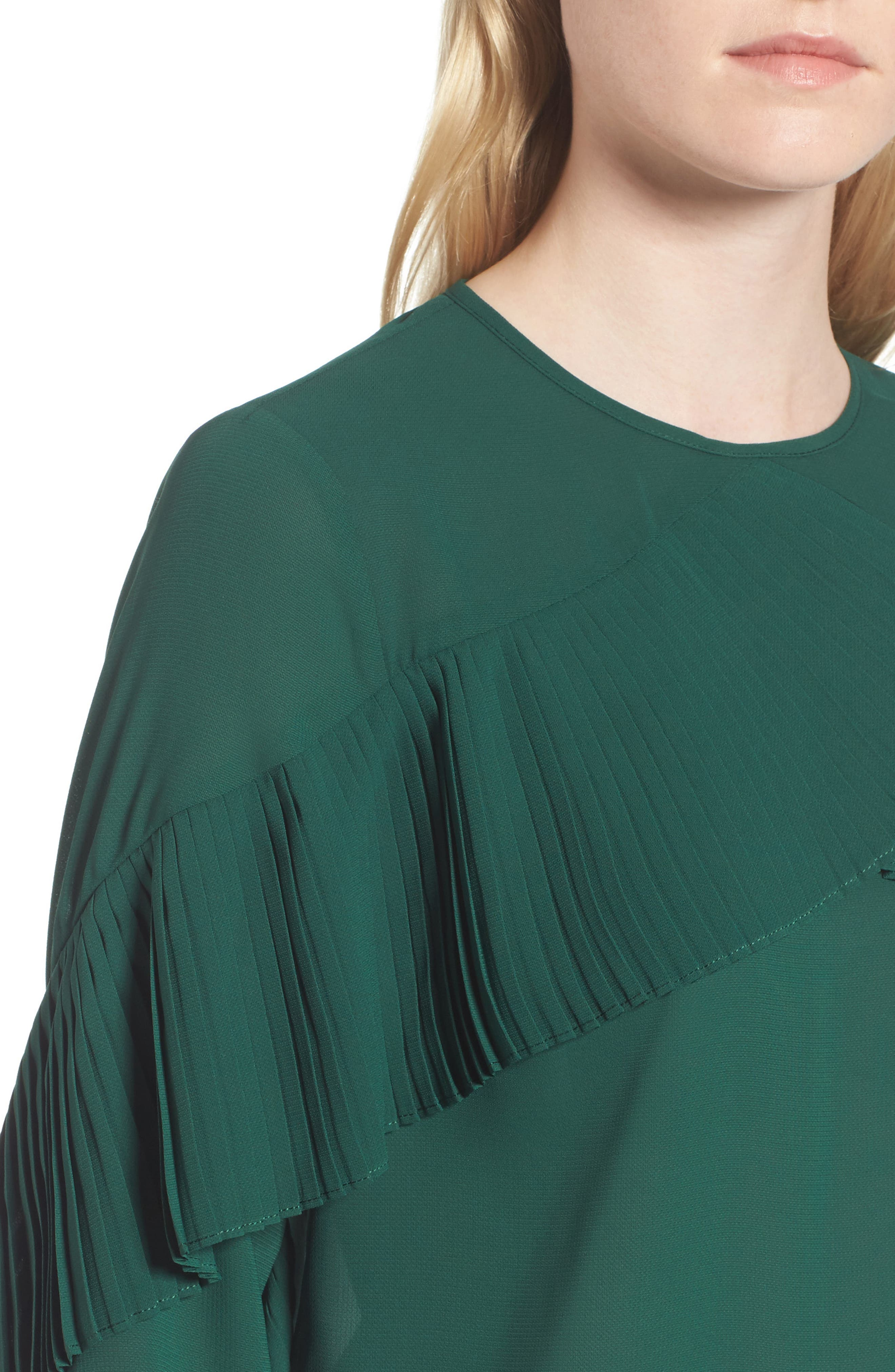 Pleated Ruffle Top,                             Alternate thumbnail 4, color,                             Green Evergreen