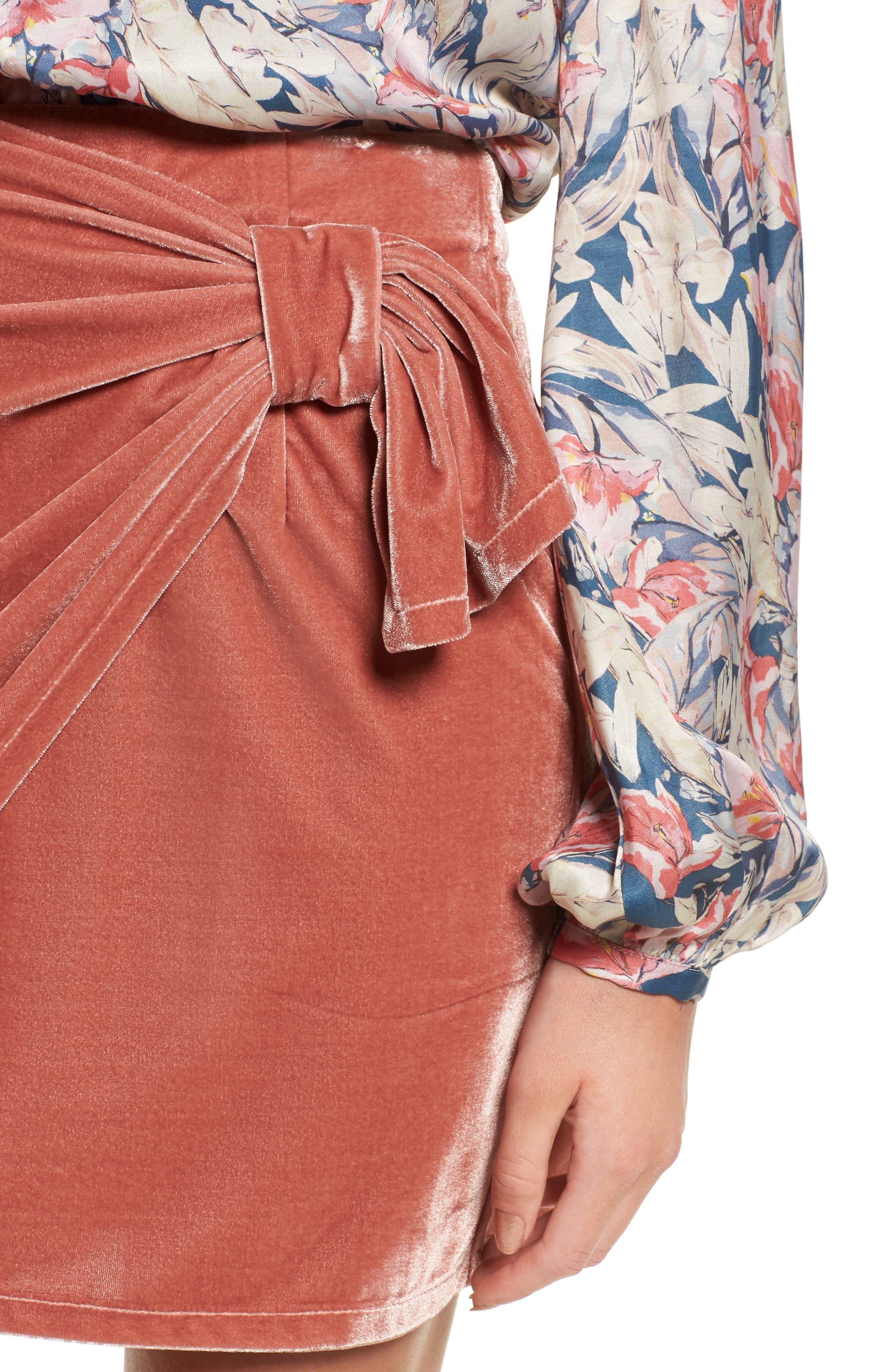 Katie Faux Wrap Skirt,                             Alternate thumbnail 4, color,                             Wild Rose