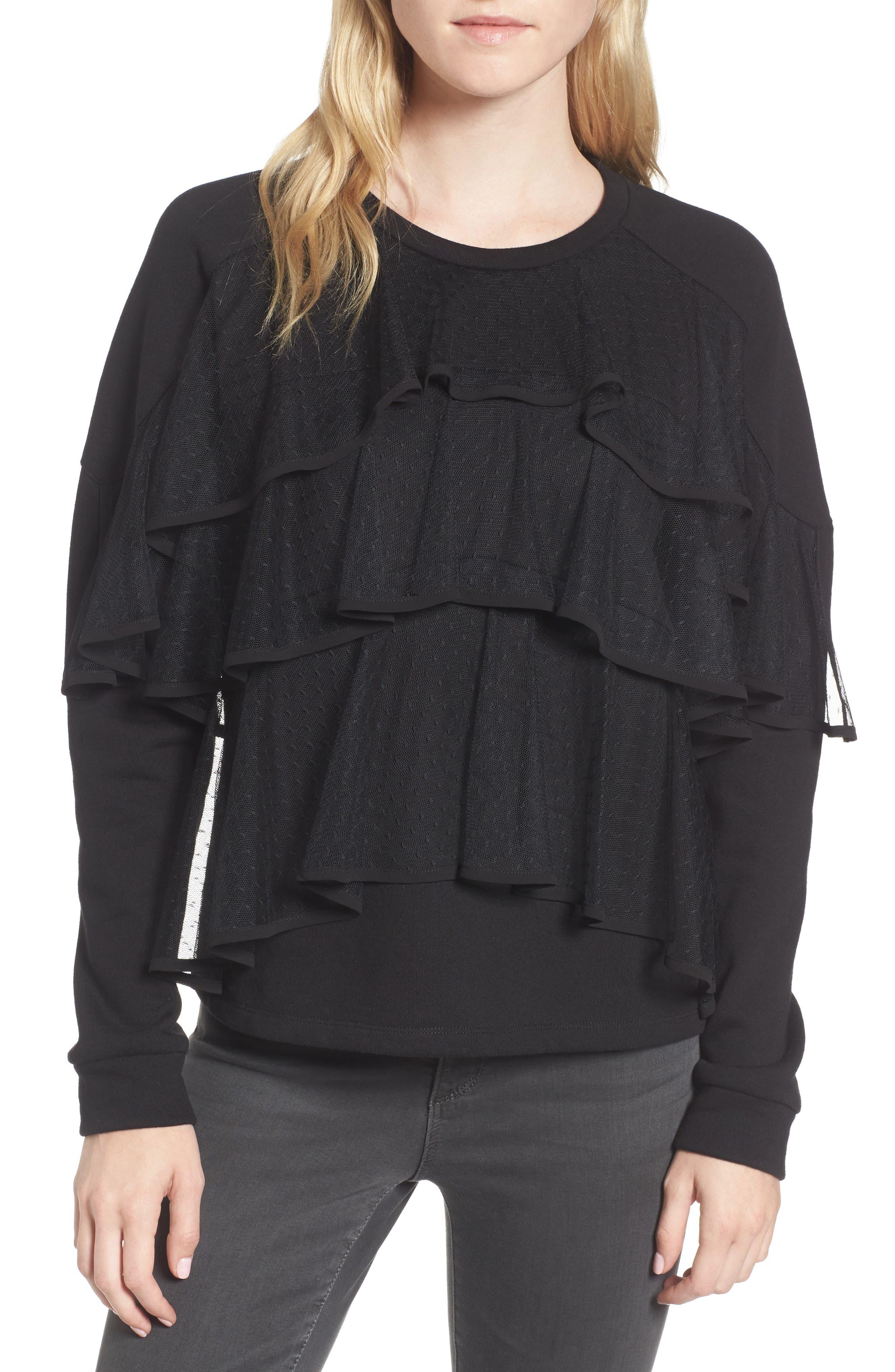 Mesh Ruffle Sweatshirt,                         Main,                         color, Black