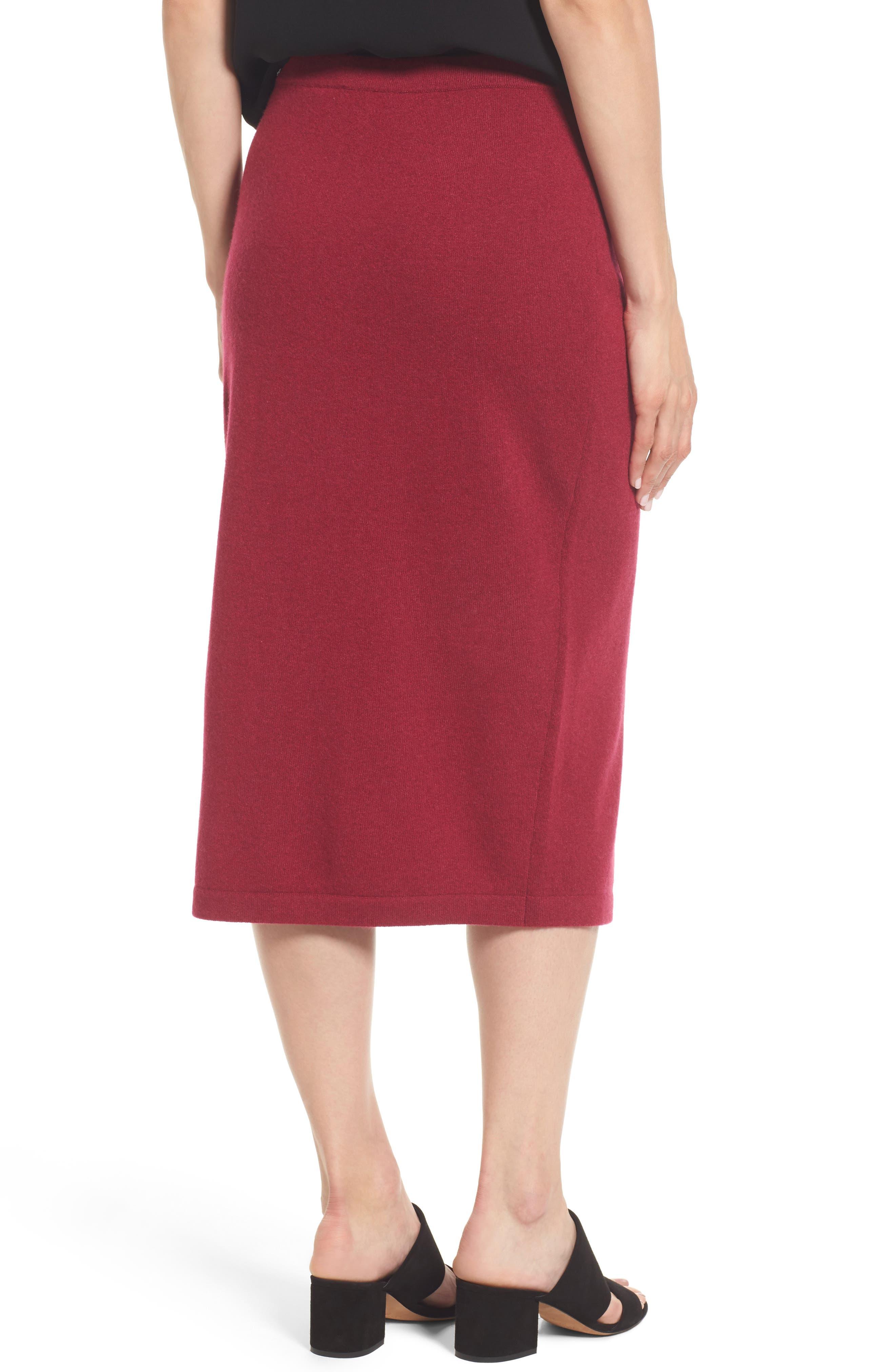 Cashmere Knit Pencil Skirt,                             Alternate thumbnail 2, color,                             Hibiscus