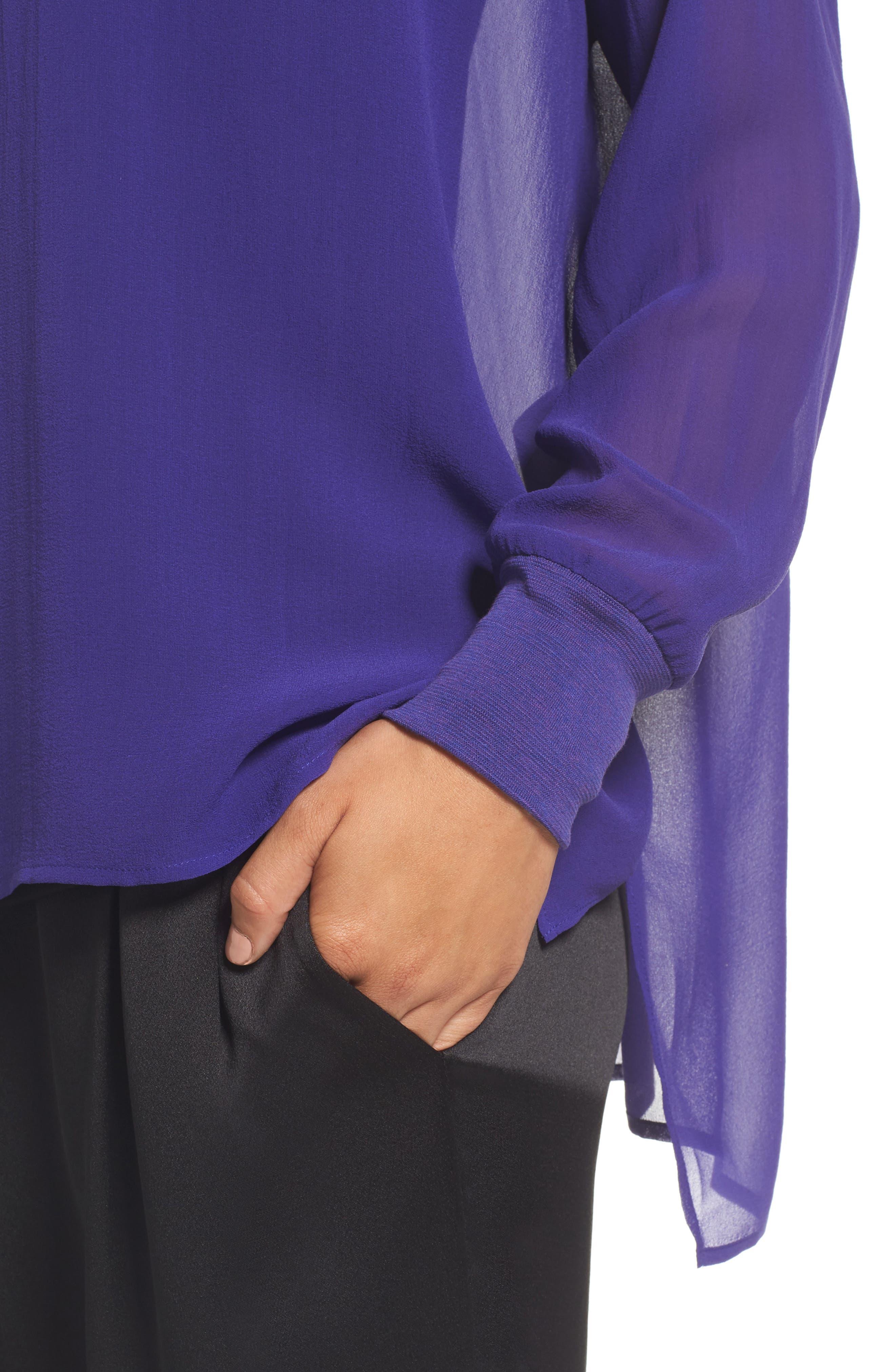 Alternate Image 4  - Eileen Fisher Bateau Neck Silk Boxy Top