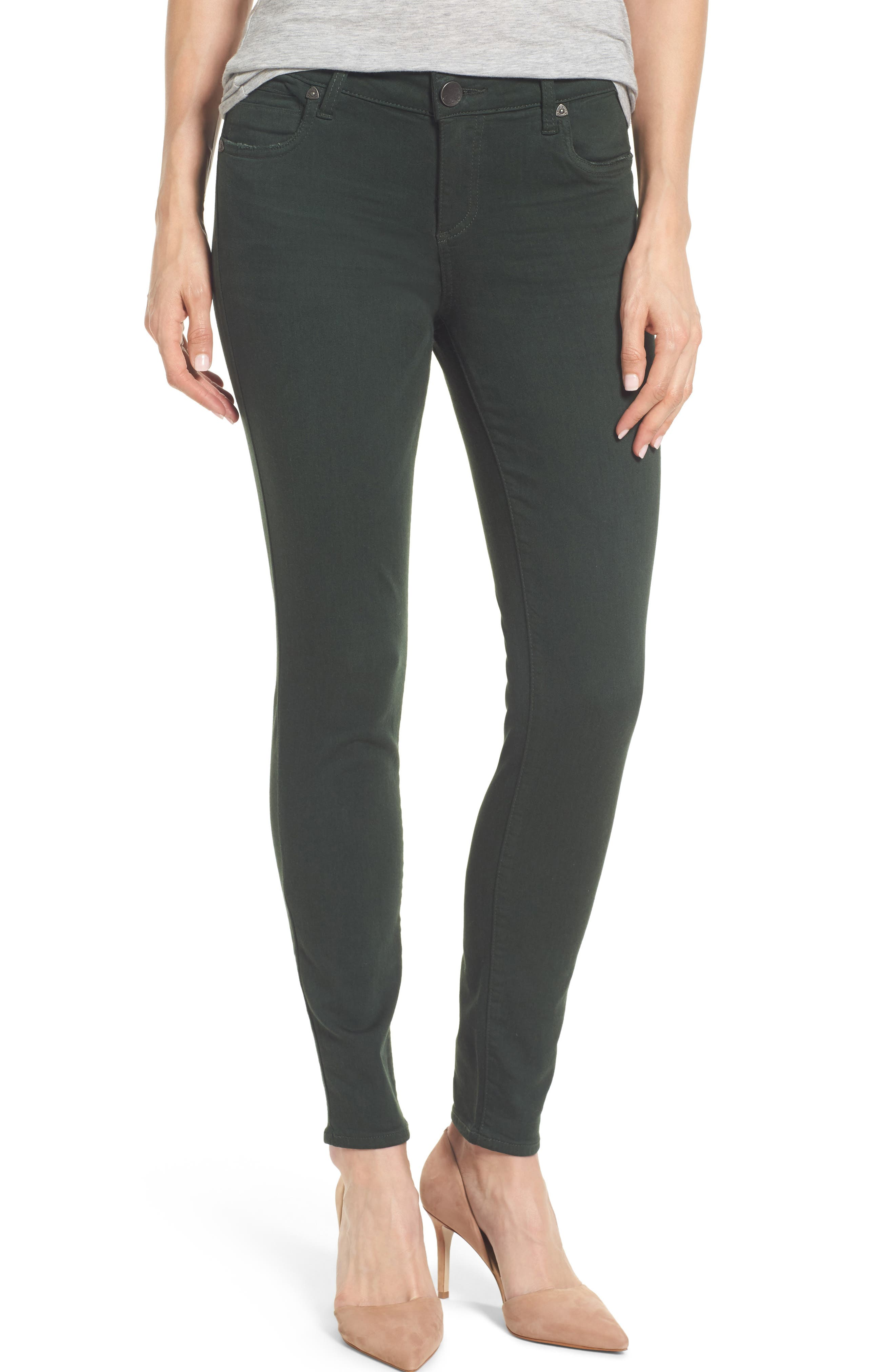 Alternate Image 1 Selected - KUT from The Kloth Mia Ankle Skinny Jeans (Deep Green)