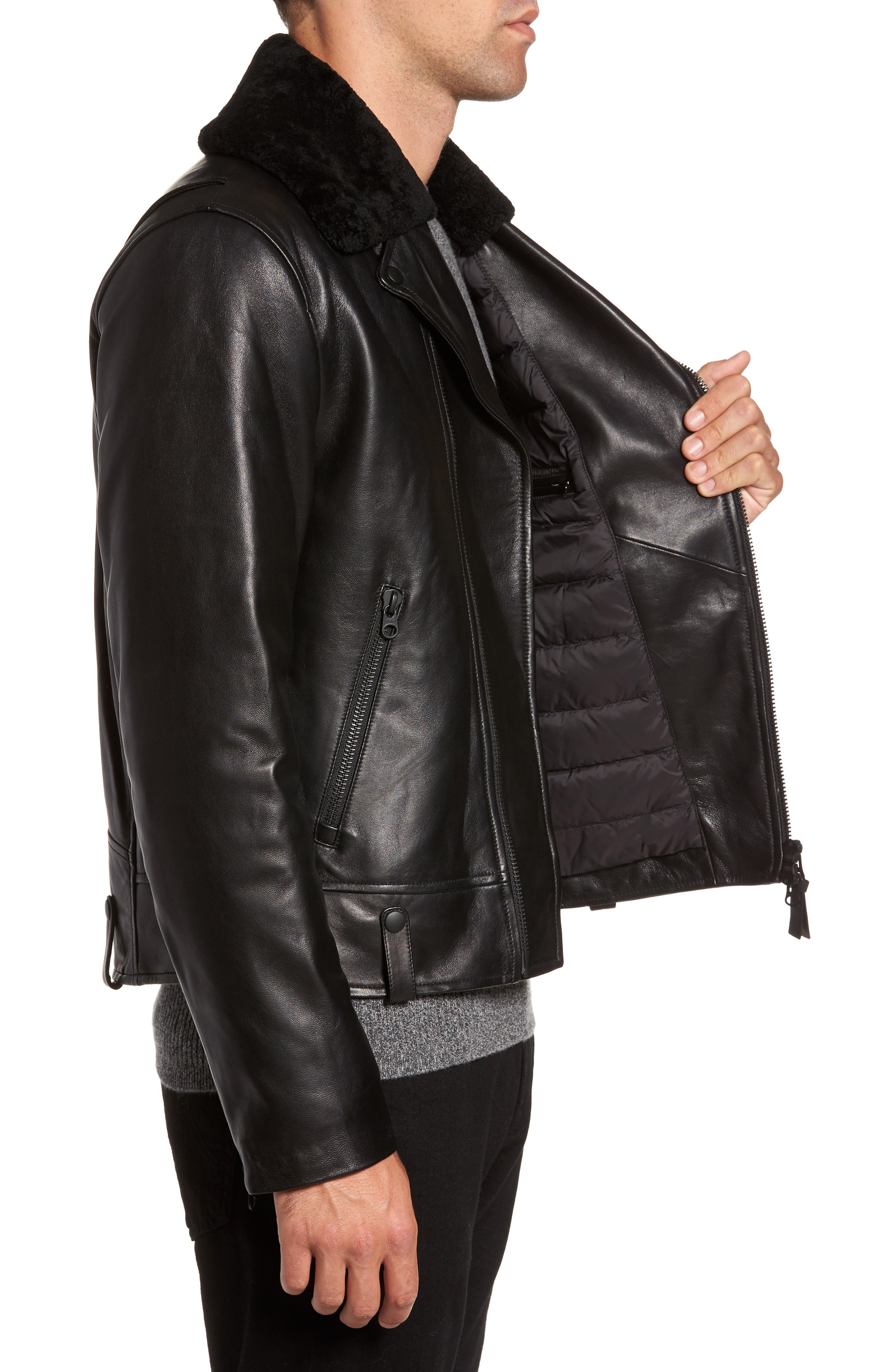 Lambskin Leather Down Jacket with Genuine Shearling Collar,                             Alternate thumbnail 3, color,                             Black