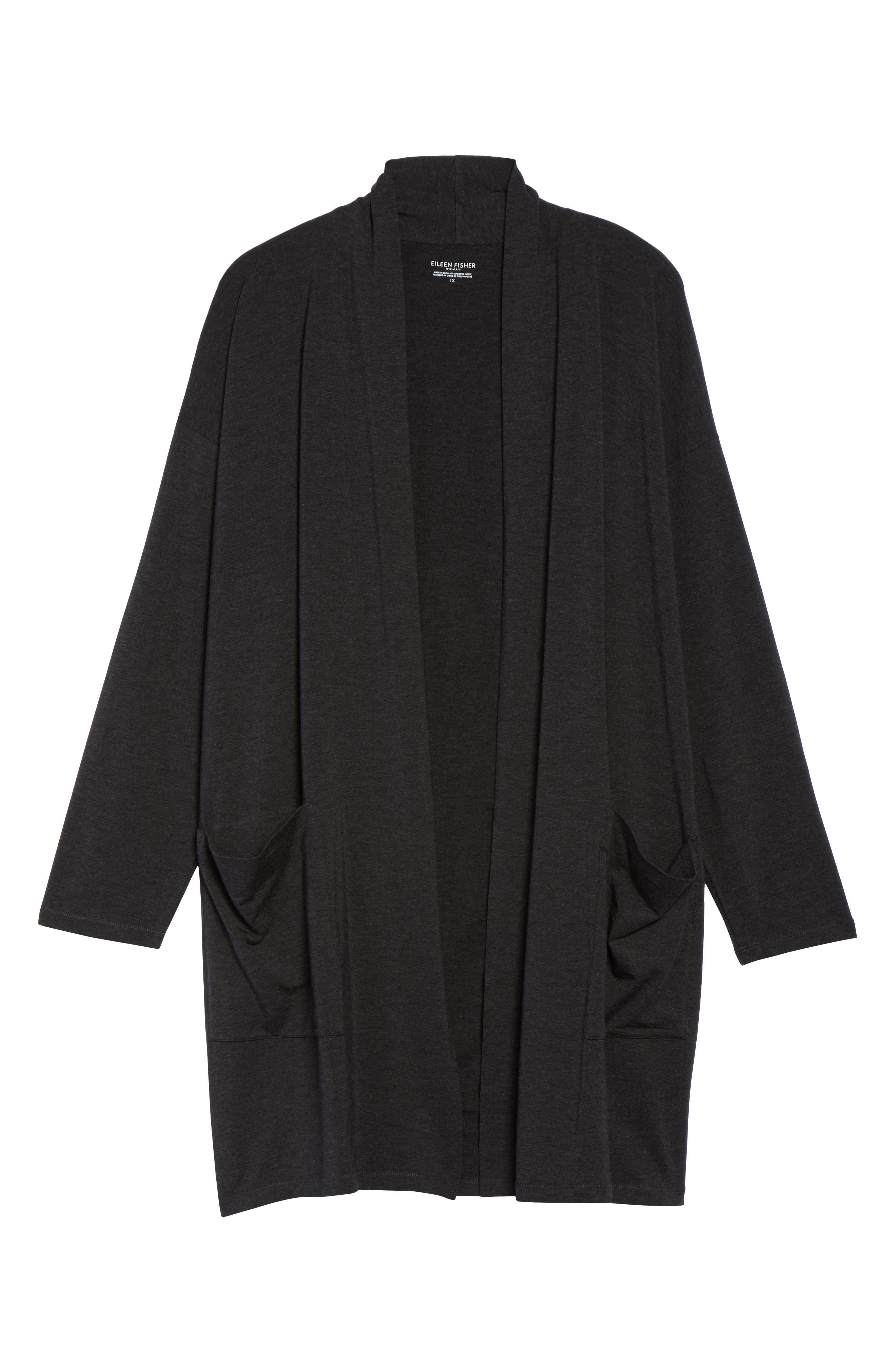 Long Kimono Cardigan,                             Alternate thumbnail 6, color,                             Charcoal
