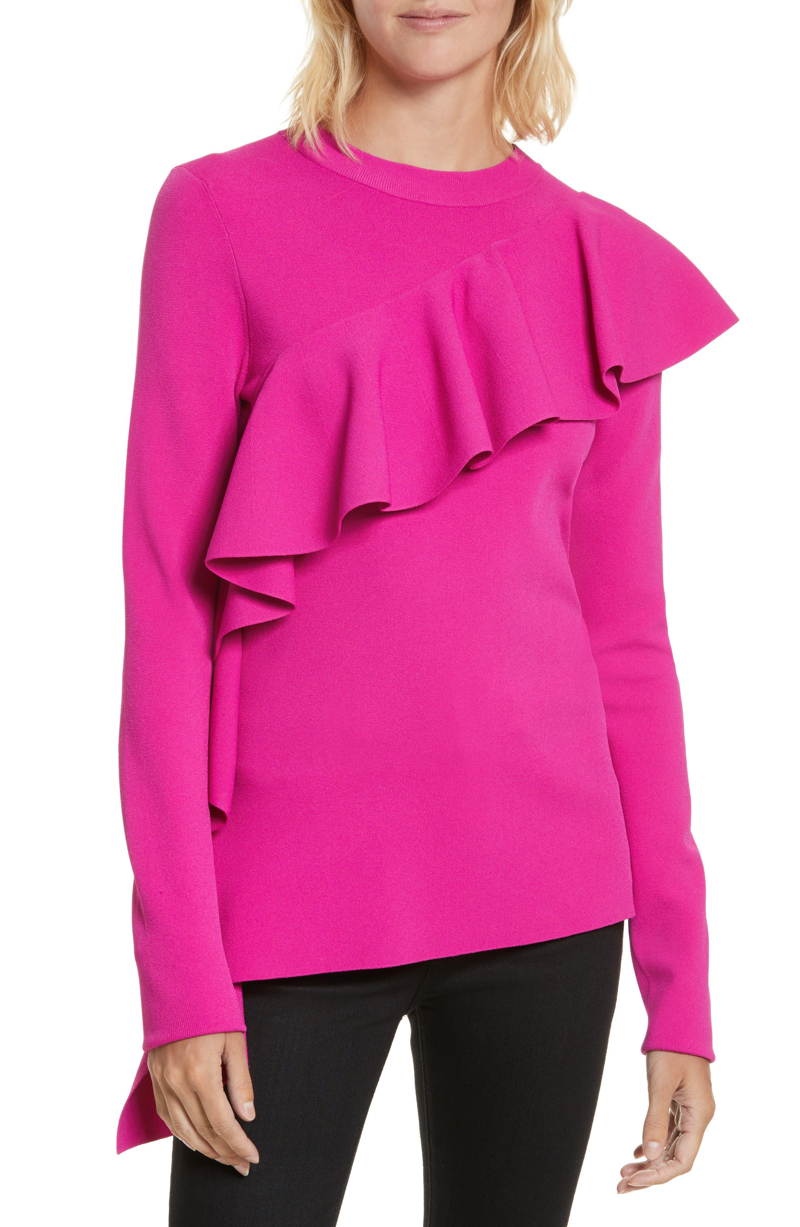 Diane von Furstenberg Ruffle Front Pullover,                         Main,                         color, Ribbon Pink