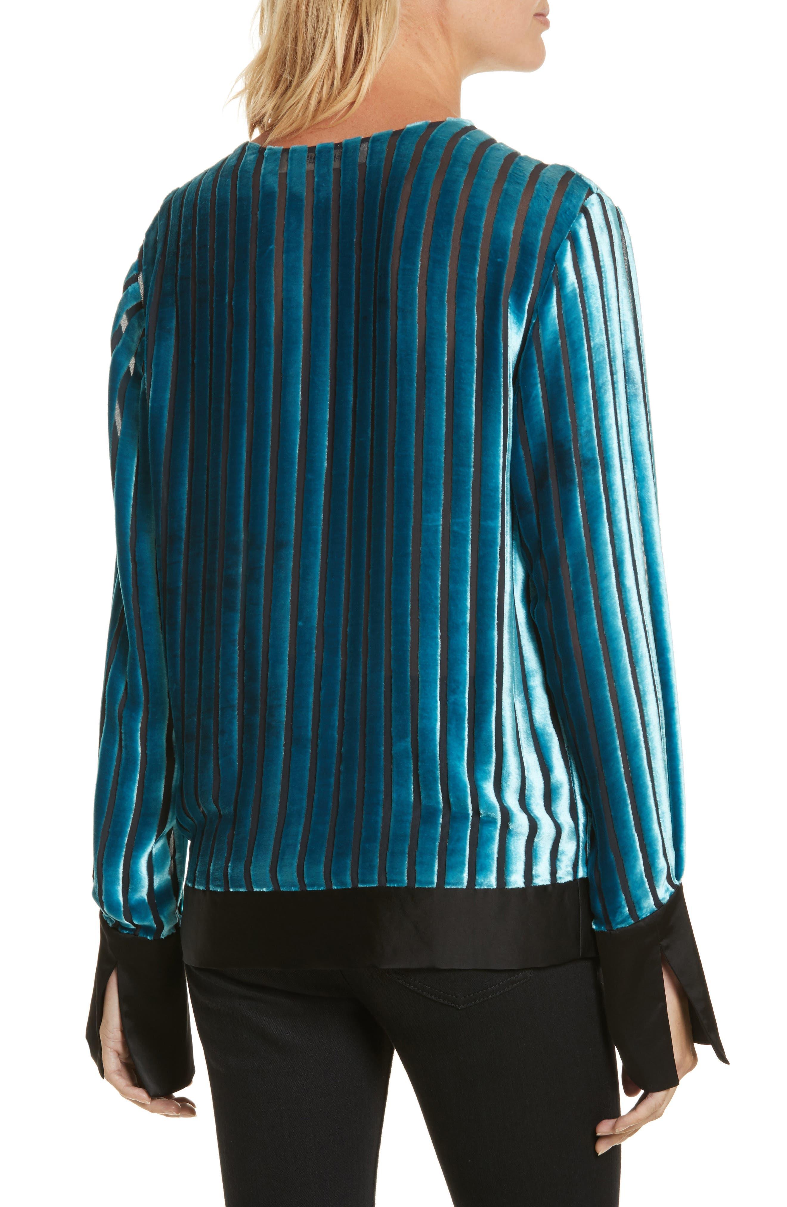 Diane von Furstenberg Velvet Stripe Blouse,                             Alternate thumbnail 2, color,                             Black/ Marine