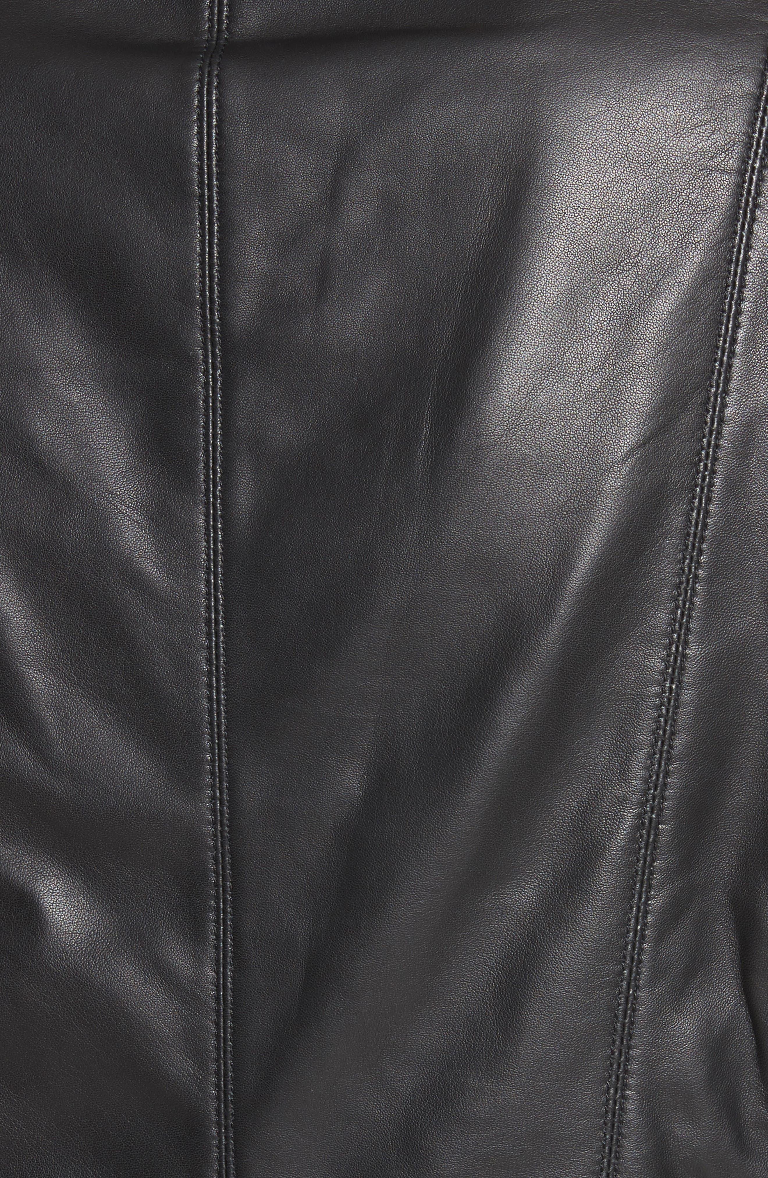 Nappa Leather Moto Jacket,                             Alternate thumbnail 5, color,                             Caviar