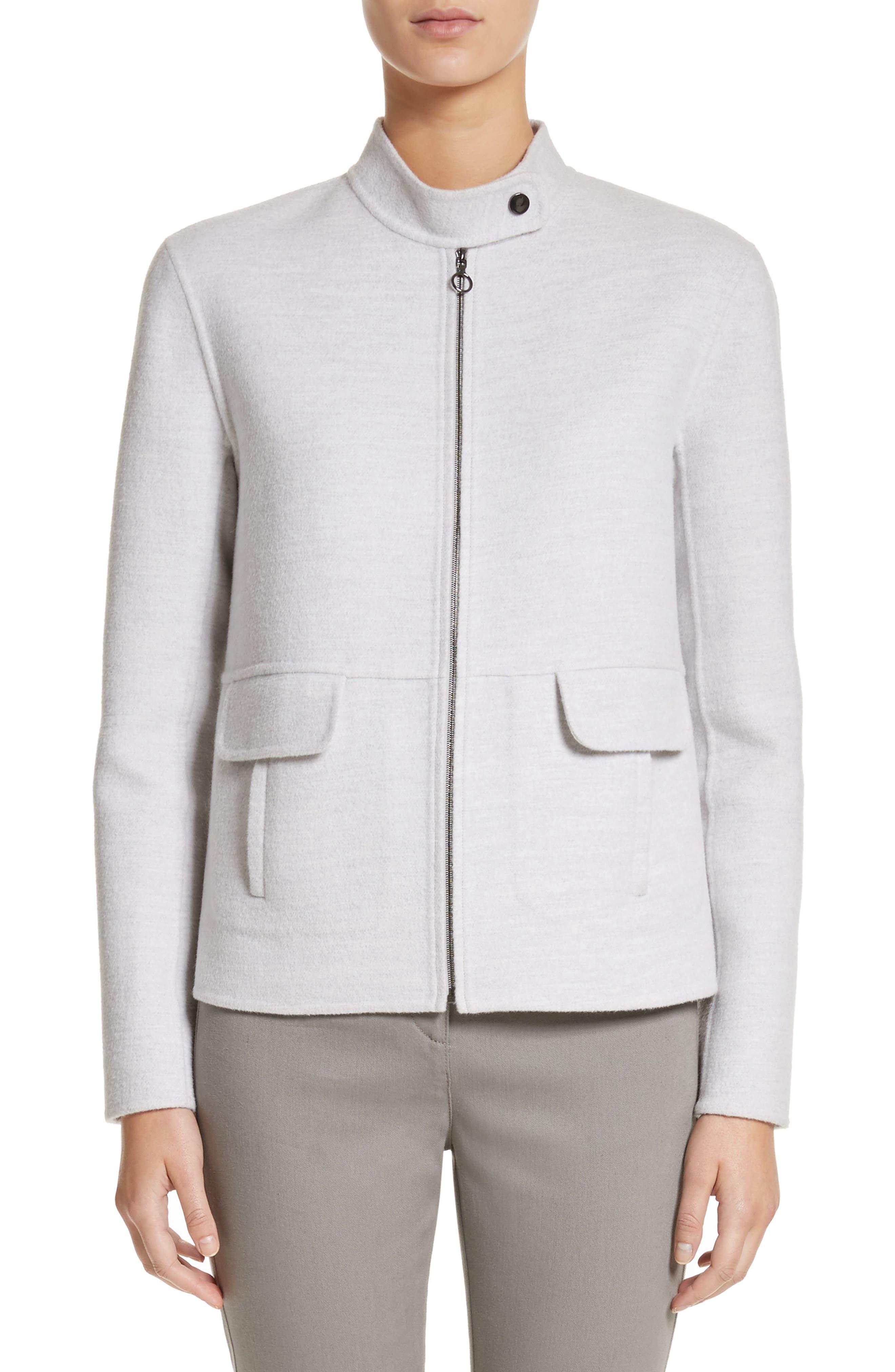 Nehru Collar Double Face Jacket,                         Main,                         color, Light Grey Melange