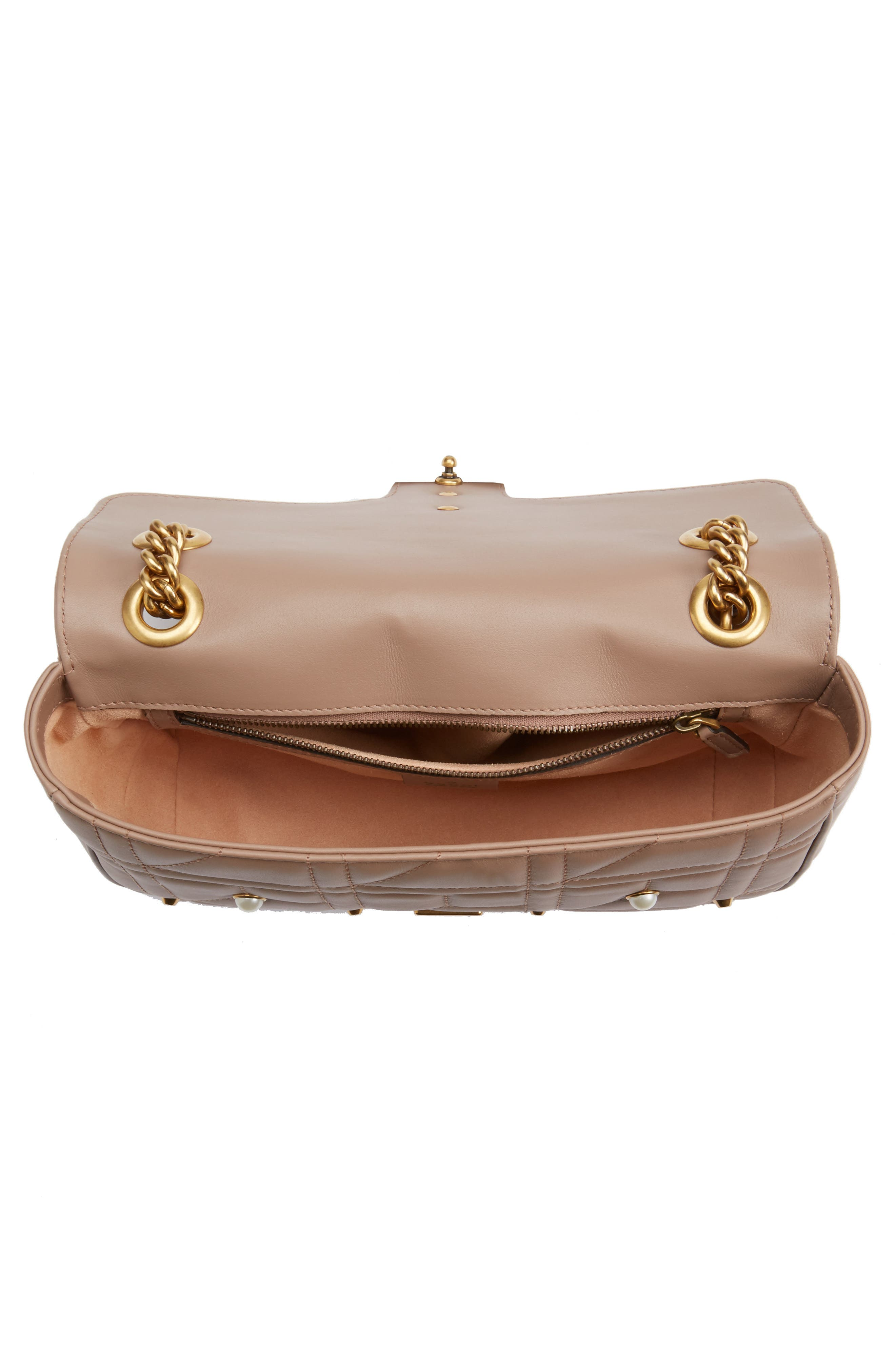 GG Marmont Matelassé Imitation Pearl Leather Shoulder Bag,                             Alternate thumbnail 3, color,                             White/ Pink