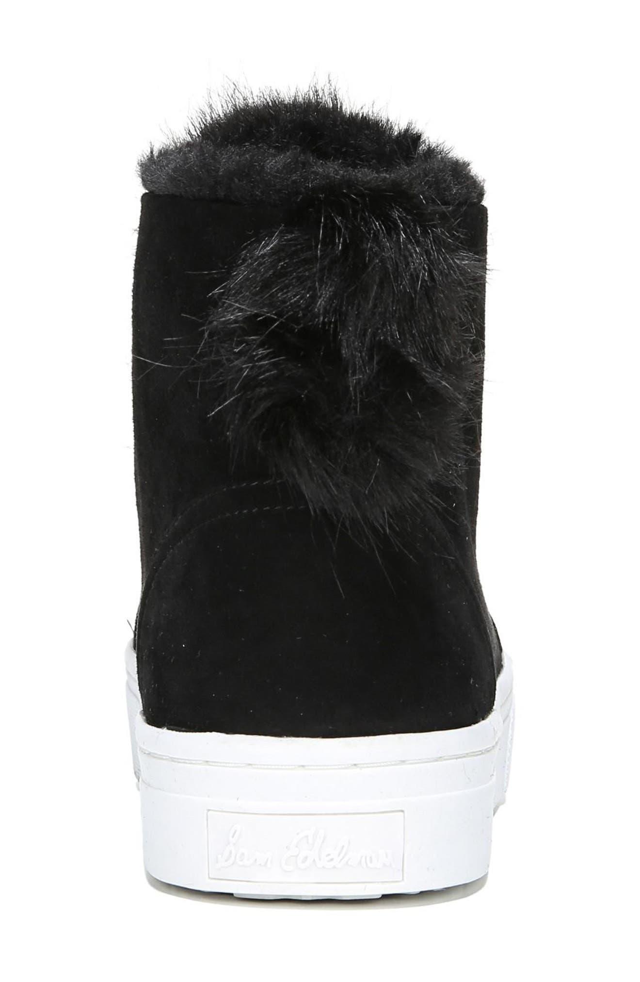 Lear Faux Fur Sneaker,                             Alternate thumbnail 5, color,                             Black Suede