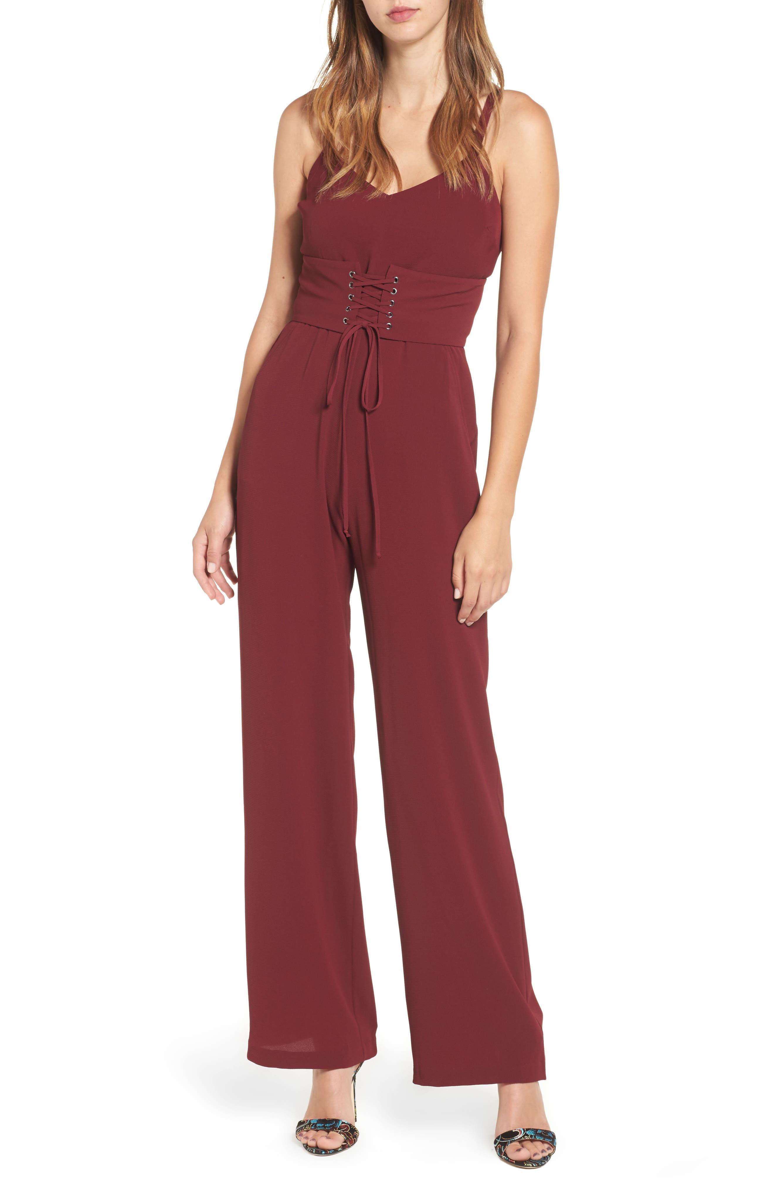 Riply Corset Jumpsuit,                         Main,                         color, Burgundy